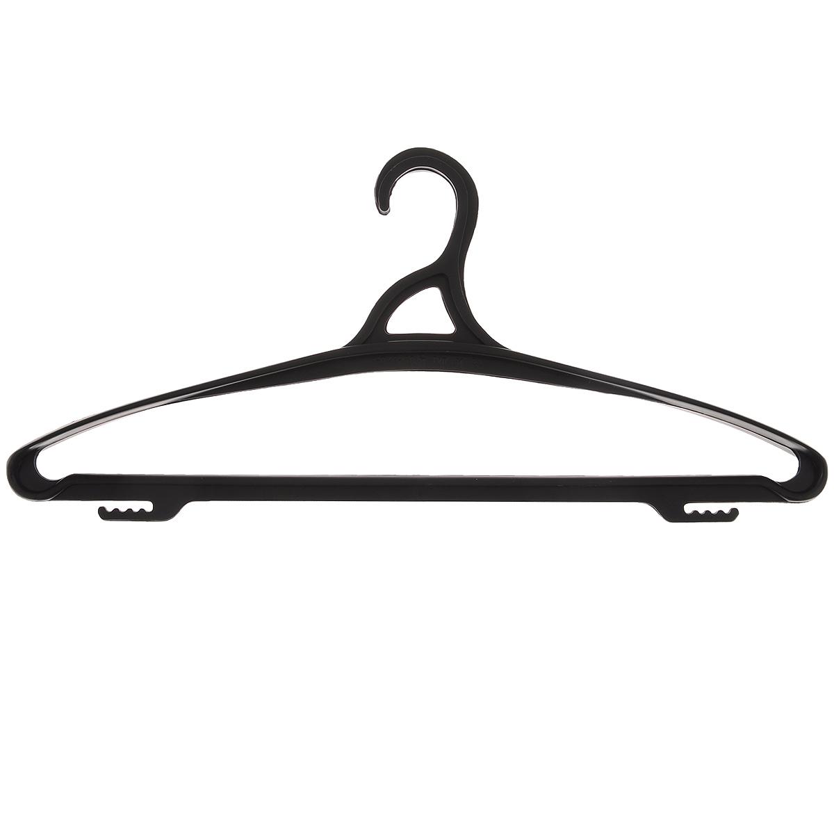 Вешалка для одежды Бытпласт, цвет: черный, размер 48-501092019Вешалка для одежды Бытпласт выполнена из прочного пластика.Изделие оснащено перекладиной и боковыми крючками.Вешалка - это незаменимая вещь для того, чтобы ваша одежда всегда оставалась в хорошем состоянии.Размер одежды: 48-50.