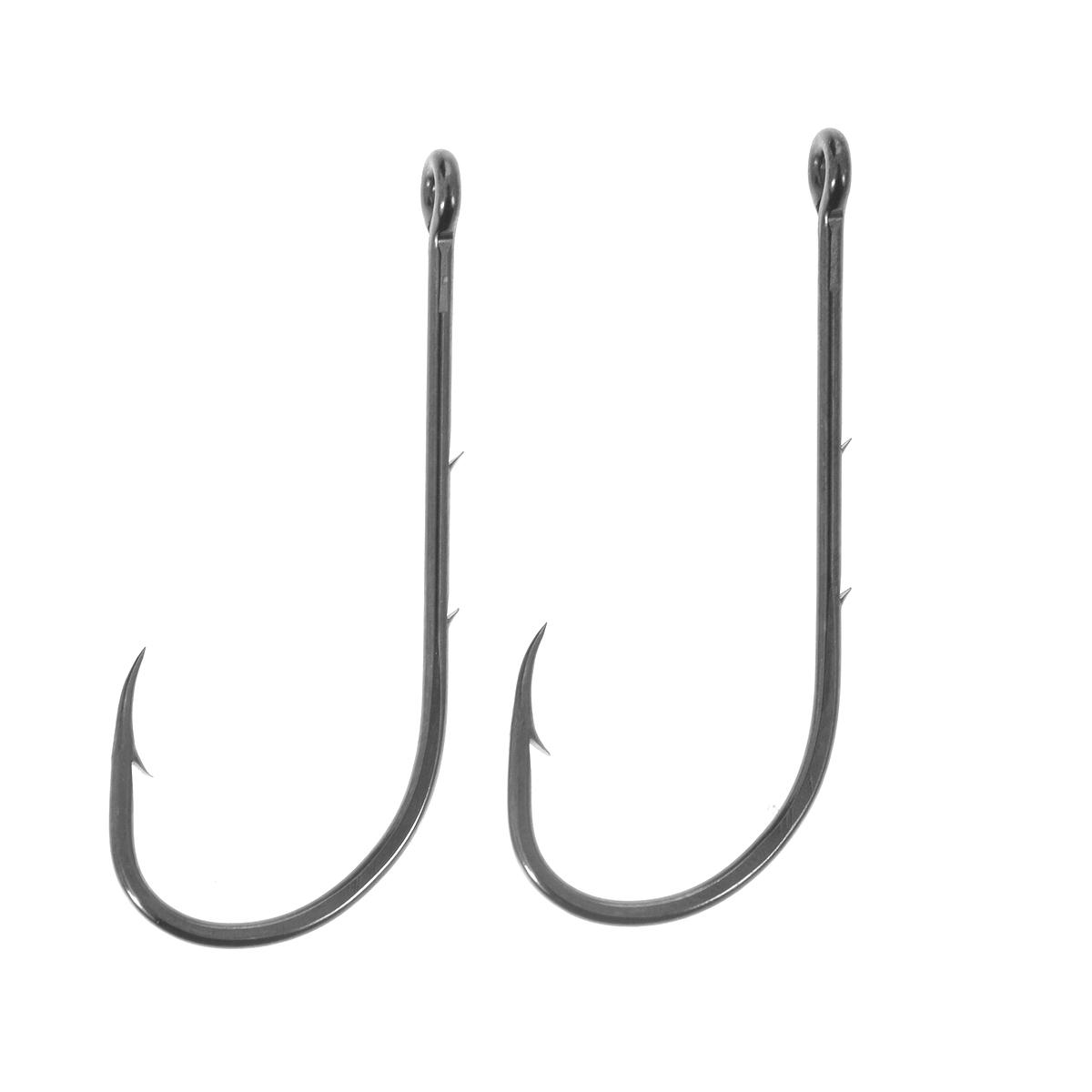 Крючки рыболовные Cobra Baitholder, цвет: черный, размер 10/0, 2 шт23042Классическая форма крупных крючков Cobra Baitholder c круглым загибом и отогнутым в сторону цевья жалом. Рекомендуется для ловли самой крупной трофейной рыбы. Благодаря двум дополнительным бородкам на цевье, прочно удерживают любую насадку.