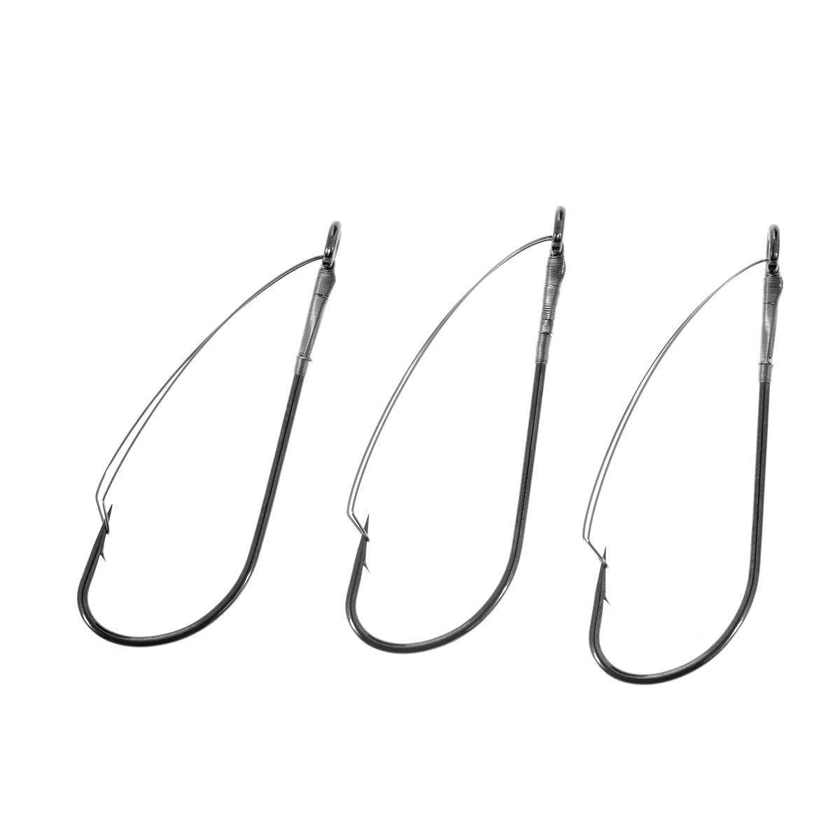 Крючки рыболовные Cobra Weedless, цвет: черный, размер 1, 3 шт010-01199-23Cobra Weedless - серия крючков c проволочной защитой. Идеальный вариант для ловли крупной рыбы в местах, где возможны частые зацепы и потеря приманок - коряжнике, среди водорослей и камней. Широко используются для оснащения блесен, снасточек, пластиковых и других приманок.