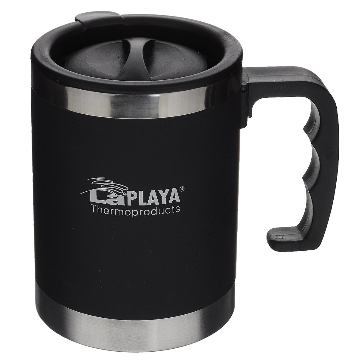 Термокружка LaPlaya TRM 3000, цвет: черный, 400 мл115510Термокружка LaPlaya TRM 3000 изготовлена из пластика и нержавеющей стали. Изделие оснащено крышкой с поворотным механизмом, позволяющим использовать кружку для питья, не снимая крышку. Кружка снабжена эргономичной ручкой. Двойные стенки сохраняют тепло в течение 1 часа, холод - 2-х часов. Термокружка подходит к большинству автомобильных держателей стаканов. Диаметр (по верхнему краю): 8 см. Высота (с учетом крышки): 11,5 см.