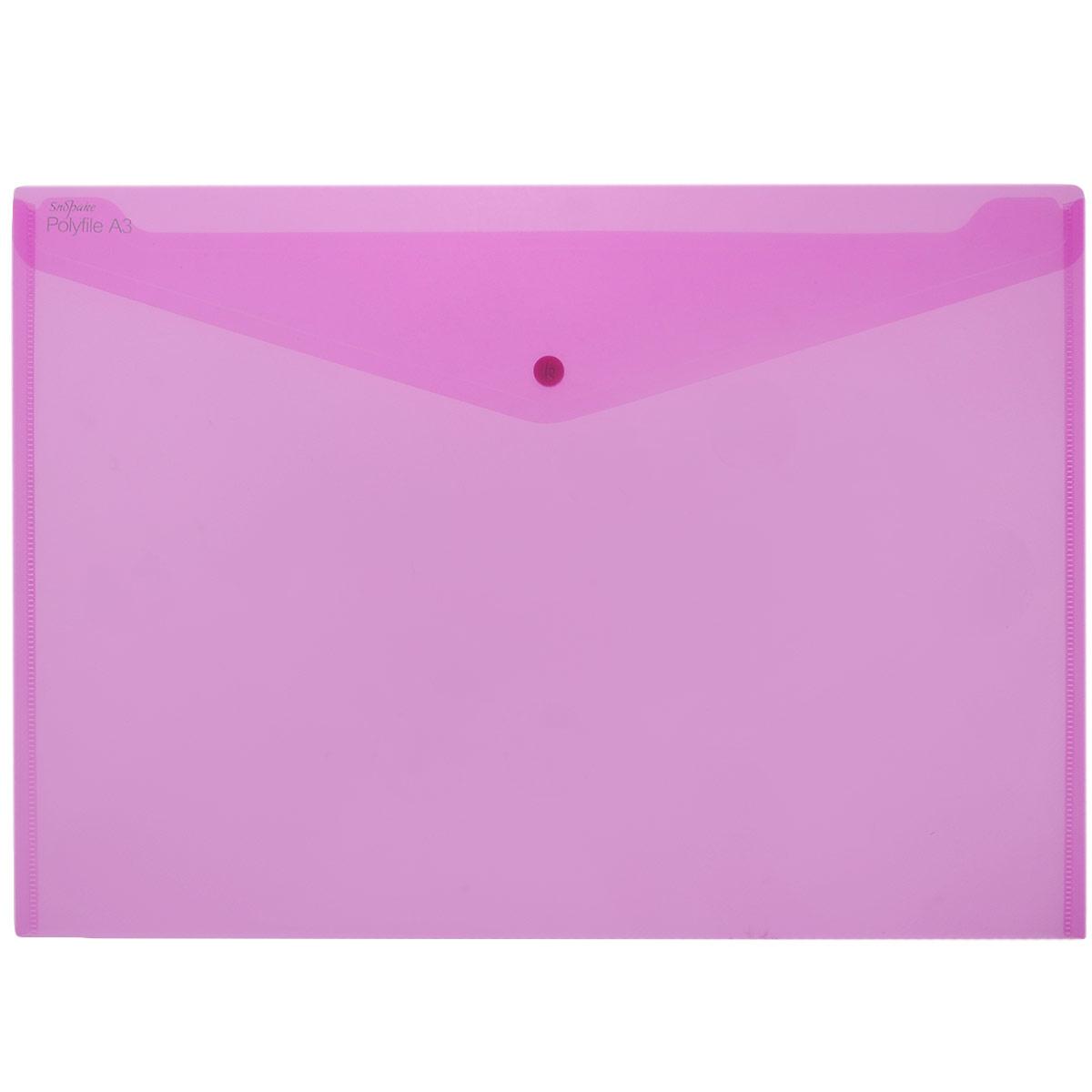 Папка-конверт на кнопке Snopake Polifile: Electra, цвет: розовый, формат А3K11185