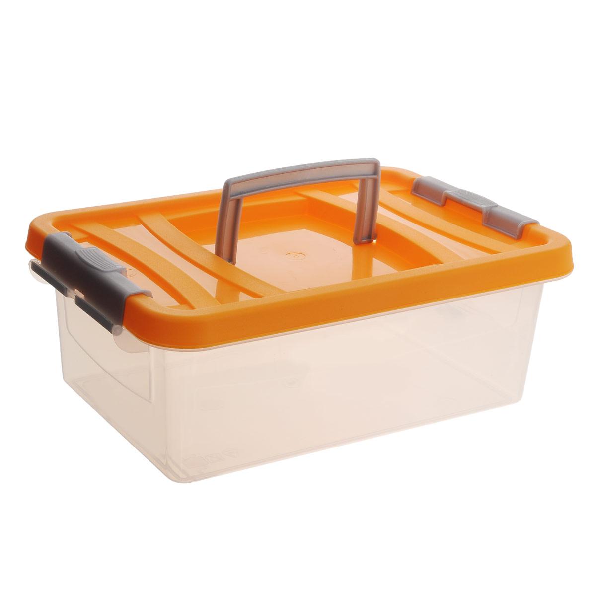 Контейнер для пищевых продуктов Martika, цвет: прозрачный, оранжевый, 6 лД Дачно-Деревенский 20Контейнер Martika прямоугольной формы предназначен специально для хранения пищевых продуктов. Устойчив к воздействию масел и жиров, легко моется. Крышка легко открывается и плотно закрывается. Имеются удобные ручки. Прозрачные стенки позволяют видеть содержимое. Контейнер имеет возможность хранения продуктов глубокой заморозки, обладает высокой прочностью. Контейнер необыкновенно удобен: его можно брать на пикник, за город, в поход.Можно мыть в посудомоечной машине.