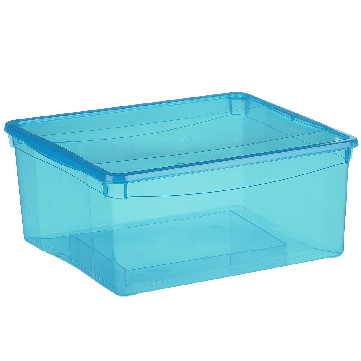 Ящик универсальный Econova Колор стайл с крышкой, цвет: голубой 18 лС12497Универсальный ящик Econova Колор стайл выполнен из полипропилена и предназначен для хранения различных предметов и аксессуаров. Ящик оснащен удобной крышкой.Очень функциональный и вместительный, такой ящик будет очень полезен для хранения вещей или продуктов, он защитит их от пыли и грязи.