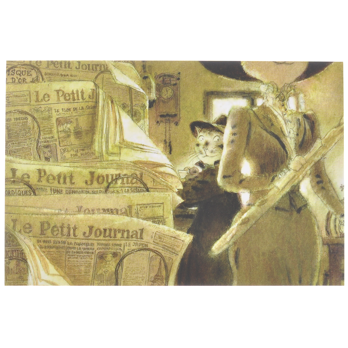 Открытка Однажды.... Из набора Парижский Кот-художник. Автор: Андрей Аринушкин1502Оригинальная дизайнерская открытка Однажды… из набора Парижский Кот-художник выполнена из плотного матового картона. На лицевой стороне расположена репродукция картины художника Андрея Аринушкина. На задней стороне имеется поле для записей.Такая открытка станет великолепным дополнением к подарку или оригинальным почтовым посланием, которое, несомненно, удивит получателя своим дизайном и подарит приятные воспоминания.