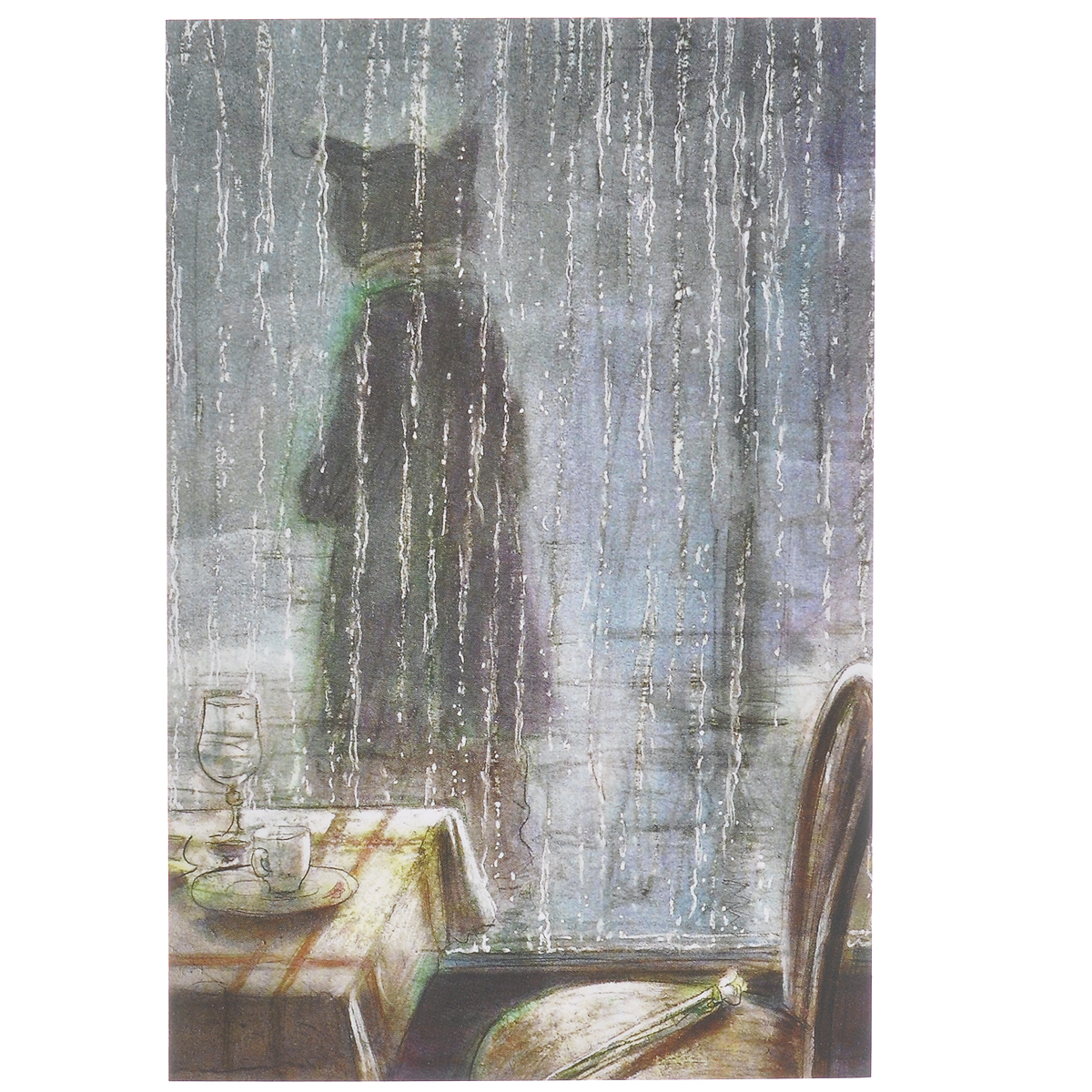 Открытка В дождь. Из набора Парижский Кот-художник. Автор: Андрей АринушкинБрелок для ключейОригинальная дизайнерская открытка В дождь из набора Парижский Кот-художник выполнена из плотного матового картона. На лицевой стороне расположена репродукция картины художника Андрея Аринушкина. На задней стороне имеется поле для записей.Такая открытка станет великолепным дополнением к подарку или оригинальным почтовым посланием, которое, несомненно, удивит получателя своим дизайном и подарит приятные воспоминания.