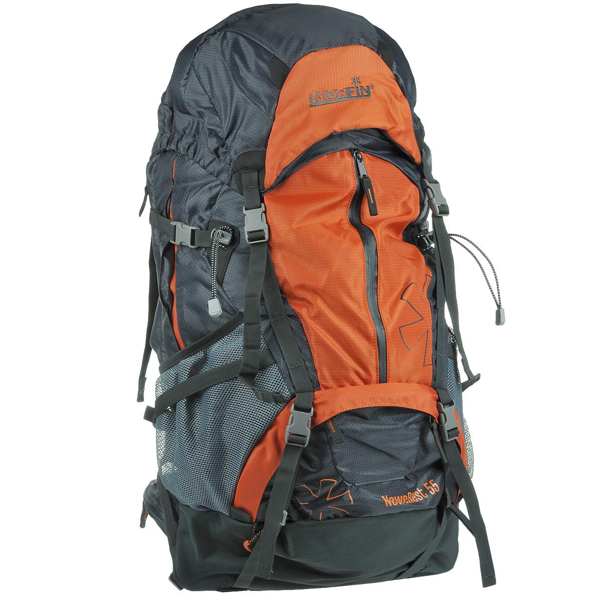 Рюкзак туристический Norfin NeweRest, цвет: серый, оранжевый, 55 лNS-40206Туристический функциональный 55-литровый рюкзак Norfin NeweRest отлично подойдет для походов и путешествий.Особенности рюкзака:Анатомический съемный пояс с карманами. Отлично сидит на бедрах, хорошо перераспределяет нагрузку Регулируемая подвесная система W-1 с вентиляцией спиныПлечевые лямки с перфорированным наполнителем EVA для смягченияГрудная стяжкаАлюминиевые латыВыход под питьевую системуОсновное отделение с разделителем на молнии позволит удобно распределить содержимое рюкзакаВерхний и нижний входы в основное отделениеБольшие боковые карманы на молнии, боковые сетчатые карманыБольшой фронтальный карман с водонепроницаемой молниейПлавающий верхний клапан с внешним и внутренним карманами Чехол-дождевик в кармане на днеВозможность крепления горного снаряжения.