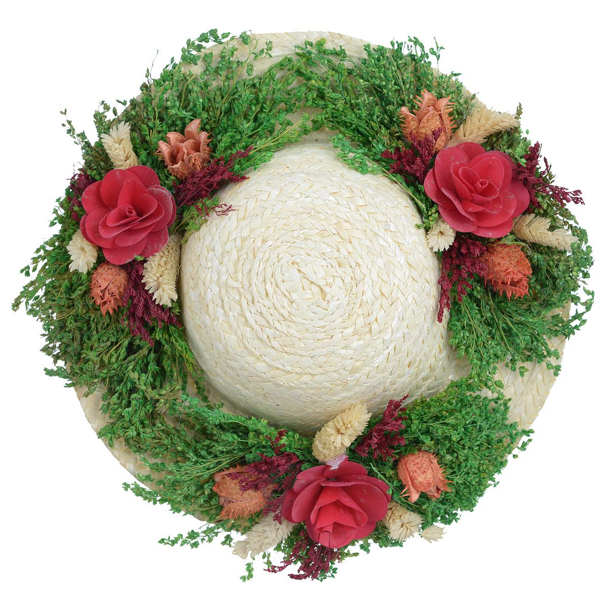 Декоративное настенное украшение Lillo Шляпа с цветами, цвет: светло-бежевый, зеленый, красныйTHN132NДекоративное подвесное украшение Lillo Шляпа с цветами выполнено из натуральной соломы и украшено сухоцветами. Такая шляпа станет изящным элементом декора в вашем доме. С задней стороны расположена петелька для подвешивания. Такое украшение не только подчеркнет ваш изысканный вкус, но и прекрасным подарком, который обязательно порадует получателя.Диаметр шляпы: 29 см.