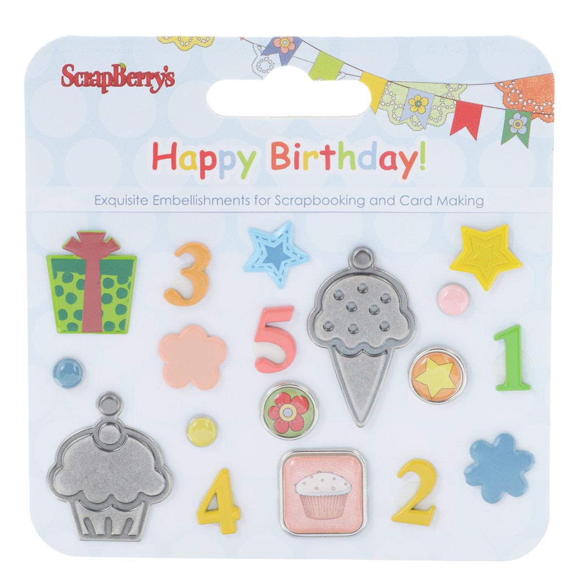 Набор брадсов ScrapBerrys С Днем Рождения!, 18 шт55052Брадсы ScrapBerrys С Днем Рождения! выполнены из металла, пластика и эпоксидной смолы. В наборе представлены брадсы различных размеров, форм и цветов. Такой набор прекрасно подойдет для декора и оформления творческих работ в различных техниках, таких как скрапбукинг, шитье, декор, изготовление бижутерии и многого другого. Брадсы разнообразят вашу работу и добавят вдохновения для новых идей.Средний размер брадсов: 1,5 см х 1,5 см.