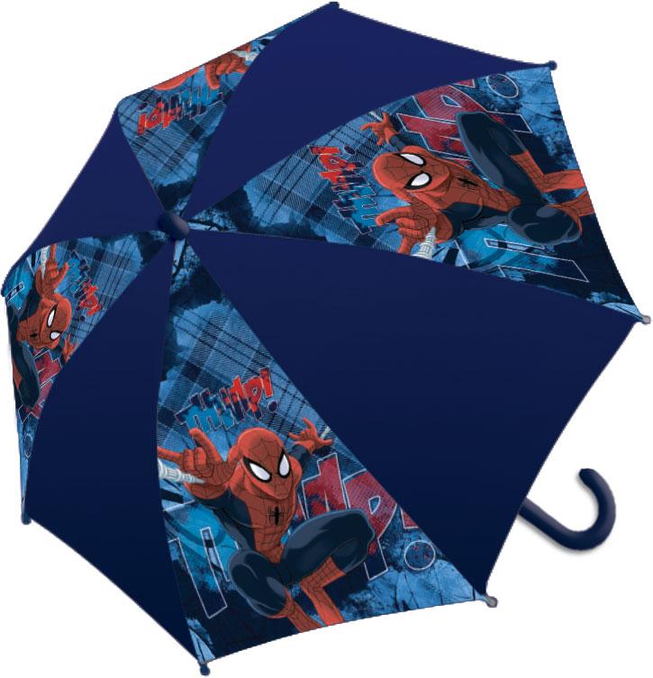 Зонт-трость детский Spider-Man, цвет: темно-синийП300020005-20Яркий детский зонт-трость Spider-Man станет замечательным подарком вашему ребенку и доставит ему много удовольствия. Его форма надежно защитит ребенка в дождливую погоду. Все выступающие металлические части закрыты пластиком, что является защитой от возможных повреждений. Купол зонта выполнен из полиэфирного эластомера и оформлен ярким рисунком. Закрывается хлястиком на кнопку. Каркас зонта выполнен из восьми металлических спиц и оснащен удобной закругленной пластиковой рукояткой. Зонт раскладывается автоматически и складывается механически.