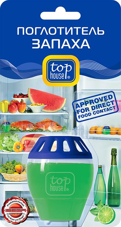Поглотитель запаха в холодильнике Top House ЛаймCLP446Поглотитель запаха в холодильнике Top House Лайм специально разработан по новейшей технологии. - Удаляет все неприятные запахи в холодильнике. - Эффективно действует не менее 2-х месяцев. - Удобен в использовании (можно поместить в ячейку для яиц). - Не меняет вкус и запах продуктов, хранящихся в холодильнике.- 1 поглотитель эффективен на объем холодильной камеры до 200 литров.- Безопасность использования поглотителя запаха в холодильнике с продуктами питания протестирована в Германии ISEGA - Forschungs - und Untersuchungs - Gesellschaft mbH Aschaffenburg и подтверждена сертификатом соответствия.- Подходит для применения в автомобилях, гардеробах, шкафчиках для обуви. Состав: более 30% вода; менее 5%: неионные ПАВ, загуститель, поглотитель запаха; консервант, ароматизатор, краситель. Товар сертифицирован.