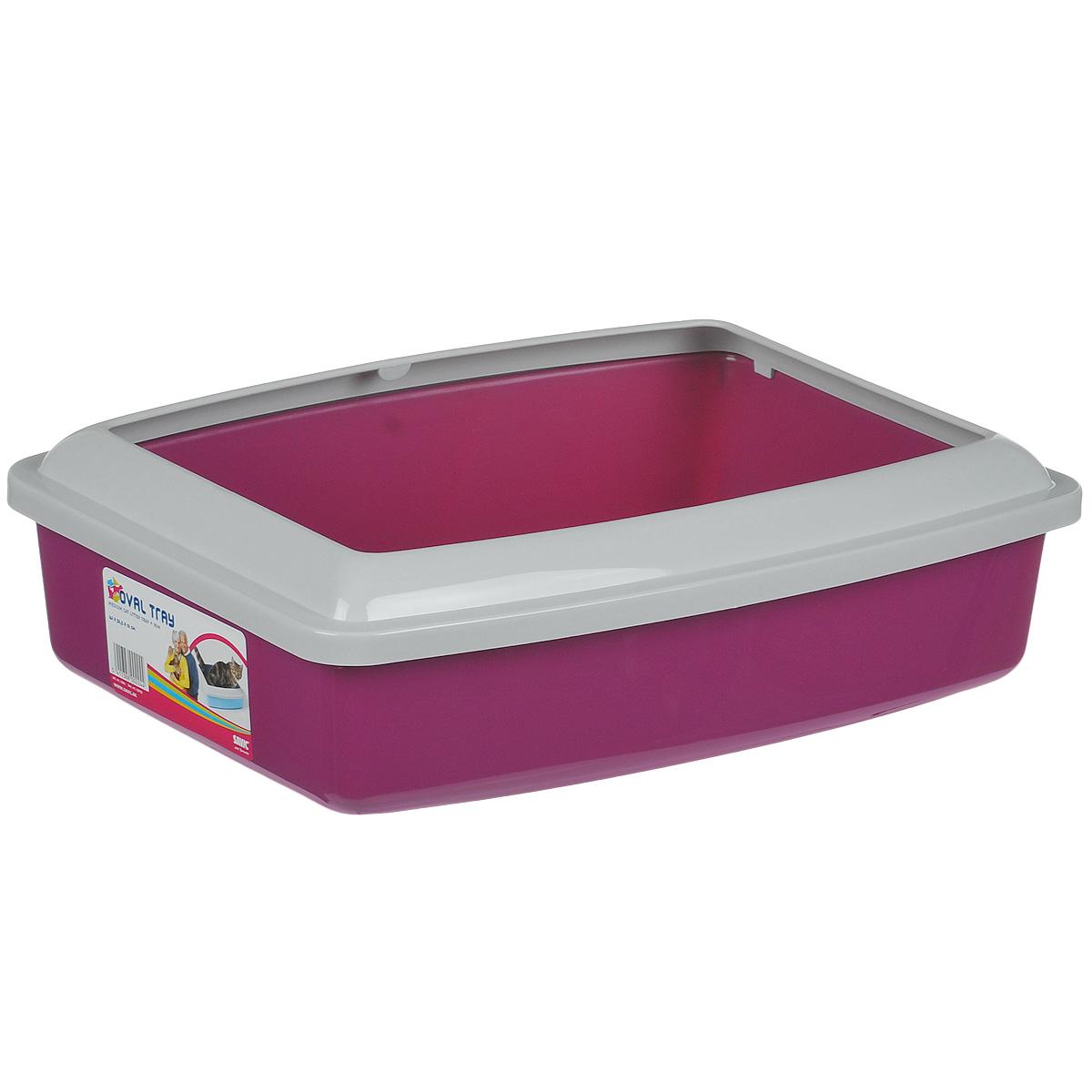 Туалет для кошек Savic Oval Trey Medium, с бортом, цвет: малиновый, 42 см х 33 см0120710Туалет для кошек Savic Oval Trey Medium изготовлен из качественного прочного пластика. Высокий цветной борт, прикрепленный по периметру лотка, удобно защелкивается и предотвращает разбрасывание наполнителя. Это самый простой в употреблении предмет обихода для кошек и котов.