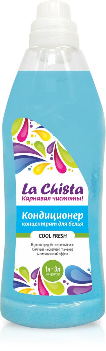 Кондиционер для белья La Chista Cool Fresh, концентрат, 1 лGC204/30Кондиционер La Chista Cool Fresh, предназначен для смягчения хлопчатобумажных, шерстяных, льняных и синтетических изделий. После стирки вещи приобретают особую мягкость, тонкий аромат свежести и легко поддаются глажке. Кондиционер безопасен при контакте с кожей человека. Сохраняет первоначальный вид и яркость вещей.Удаляет с ткани остатки стирального порошка. Обладает эффектом антистатика.Экономичный расход, 1 л = 3 л. Состав: вода, 5-15% катионного ПАВ, кальций хлористый, парфюмерная композиция, консервант, краситель.