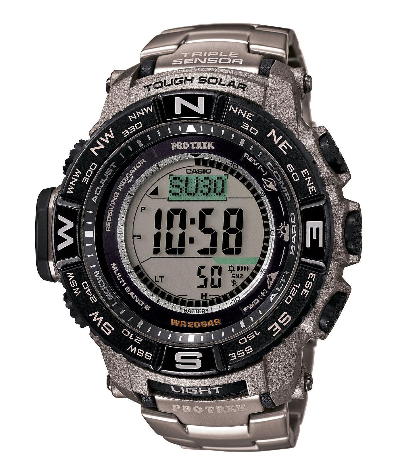 Часы мужские наручные Casio PRO TREK, цвет: титановый, черный. PRW-3500T-7EBM8434-58AEСтильные мужские часы Casio PRO TREK выполнены из нержавеющей стали, полимерных материалов и минерального стекла. Изделие дополнено подсветкой высокой яркости, корпус часов оформлен символикой бренда. В часах предусмотрен цифровой отсчет времени.Часы оснащены функцией мирового времени, которая позволяет мгновенно выяснять текущее время. Часы могут быть настроены на подачу тонального или светового сигнала при наступлении выставленного времени. Функция таймера позволит обеспечить обратный отсчет времени, начиная с выставленного и подачу тонального или светового сигнала, когда отсчет доходит до нуля. Функция секундомера позволит замерять прошедшее время в пределах тысячи часовс точностью 1/100 секунды, предусмотрен будильник, термометр, цифровой компас, альтиметр, барометр. Степень влагозащиты 20 atm. Изделие дополнено браслетом из стали. Браслет застегивается на замок-клипсу, который позволит максимально комфортно и быстро снимать и одевать часы.Часы поставляются в фирменной упаковке.Многофункциональные часы Casio PRO TREK подчеркнут мужской характер и отменное чувство стиля у их обладателя.