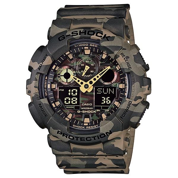 Часы мужские наручные Casio G-SHOCK, цвет: хаки, камуфляж. GA-100CM-5ABM8434-58AEСтильные мужские часы Casio G-SHOCK выполнены из полимерных материалов и минерального стекла. Изделие дополнено светодиодной подсветкой высокой яркости, корпус часов оформлен символикой бренда и оригинальным принтом камуфляж. В часах предусмотрен цифровой отсчет времени.Часы оснащены функцией мирового времени, которая позволяет мгновенно выяснять текущее время. Часы могут быть настроены на подачу тонального или светового сигнала при наступлении выставленного времени. Функция таймера позволит обеспечить обратный отсчет времени, начиная с выставленного и подачу тонального или светового сигнала, когда отсчет доходит до нуля. Функция секундомера позволит замерять прошедшее время в пределах тысячи часовс точностью 1/100 секунды, предусмотрен будильник. Степень влагозащиты 20 atm. Изделие дополнено ремешком из полимерного материала, который обладает антибактериальными и запахоустойчивыми свойствами. Ремешок застегивается на пряжку, позволяющую максимально комфортно и быстро снимать и одевать часы.Часы поставляются в фирменной упаковке.Многофункциональные часы Casio G-SHOCK подчеркнут мужской характер и отменное чувство стиля у их обладателя.