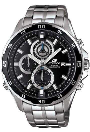 Часы мужские наручные CASIO EDIFICE, цвет: стальной, черный. EFR-547D-1A23008Стильные мужские часы CASIO EDIFICE выполнены из нержавеющей стали, минерального стекла. Циферблат изделия дополнен сверхяркой подсветкой, при нажатии на кнопку подсветки экран ярко освещается в ультрамодный цвет, символикой бренда.Часы оснащены полированным ударостойким корпусом, устойчивым к царапинам минеральным стеклом, секундомером, а также степенью влагозащиты 10 atm и тремя дополнительными циферблатами, индикатором даты. Изделие дополнено браслетом из нержавеющей стали, позволяющим максимально комфортно и быстро снимать и одевать часы при помощи застежки-клипсы.Часы поставляются в фирменной упаковке.Часы CASIO EDIFICE подчеркнут мужской характер и отменное чувство стиля у их обладателя.