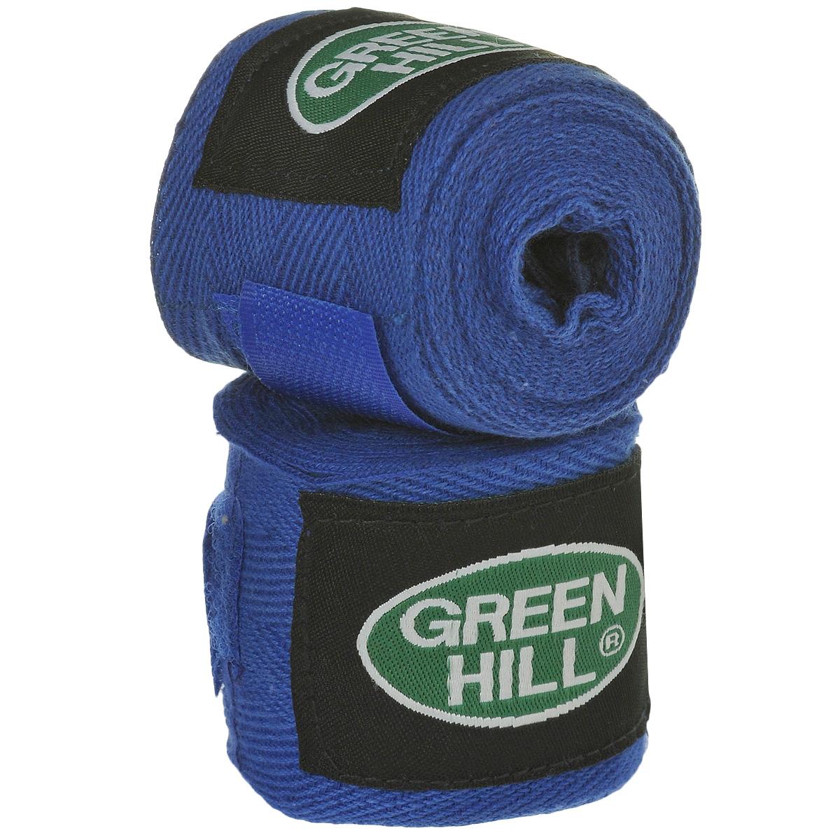 Бинты боксерские Green Hill, хлопок, цвет: синий, 2,5 м, 2 штВС-6235-25Бинты Green Hill предназначены для защиты запястья во время занятий боксом. Изготовлены из высококачественного хлопка. Бинты надежно закрепляются на руке застежкой на липучке.Длина бинтов: 2,5 м.