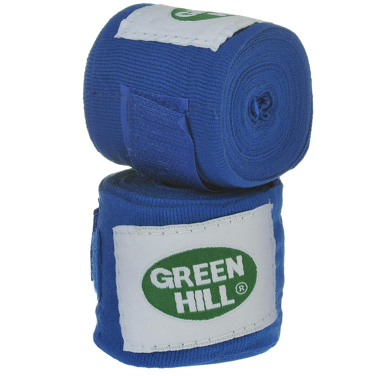 Бинты боксерские Green Hill, эластик, цвет: синий, 3,5 м, 2 штВР-6232-35Бинты Green Hill предназначены для защиты запястья во время занятий боксом. Изготовлены из высококачественного хлопка с добавлением эластана. Бинты надежно закрепляются на руке застежкой на липучке.Длина бинтов: 3,5 м.
