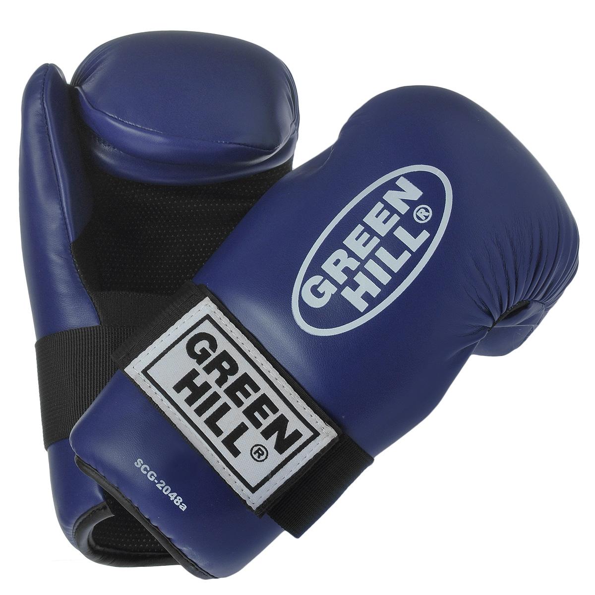Перчатки для контактных единоборств Green Hill 7-contact, цвет: синий. Размер SAIRWHEEL Q3-340WH-BLACKНакладки Green Hill 7-contact для контактных видов единоборств семиконтакт. Идеально подходят для обучения, спаррингов и соревнований. Перчатки выполнены из высококачественной. Широкий ремень, охватывая запястье, полностью оборачивается вокруг манжеты, благодаря чему создается дополнительная защита лучезапястного сустава от травм. Застежка на липучке способствует быстрому и удобному одеванию перчаток, плотно фиксирует перчатки на руке.