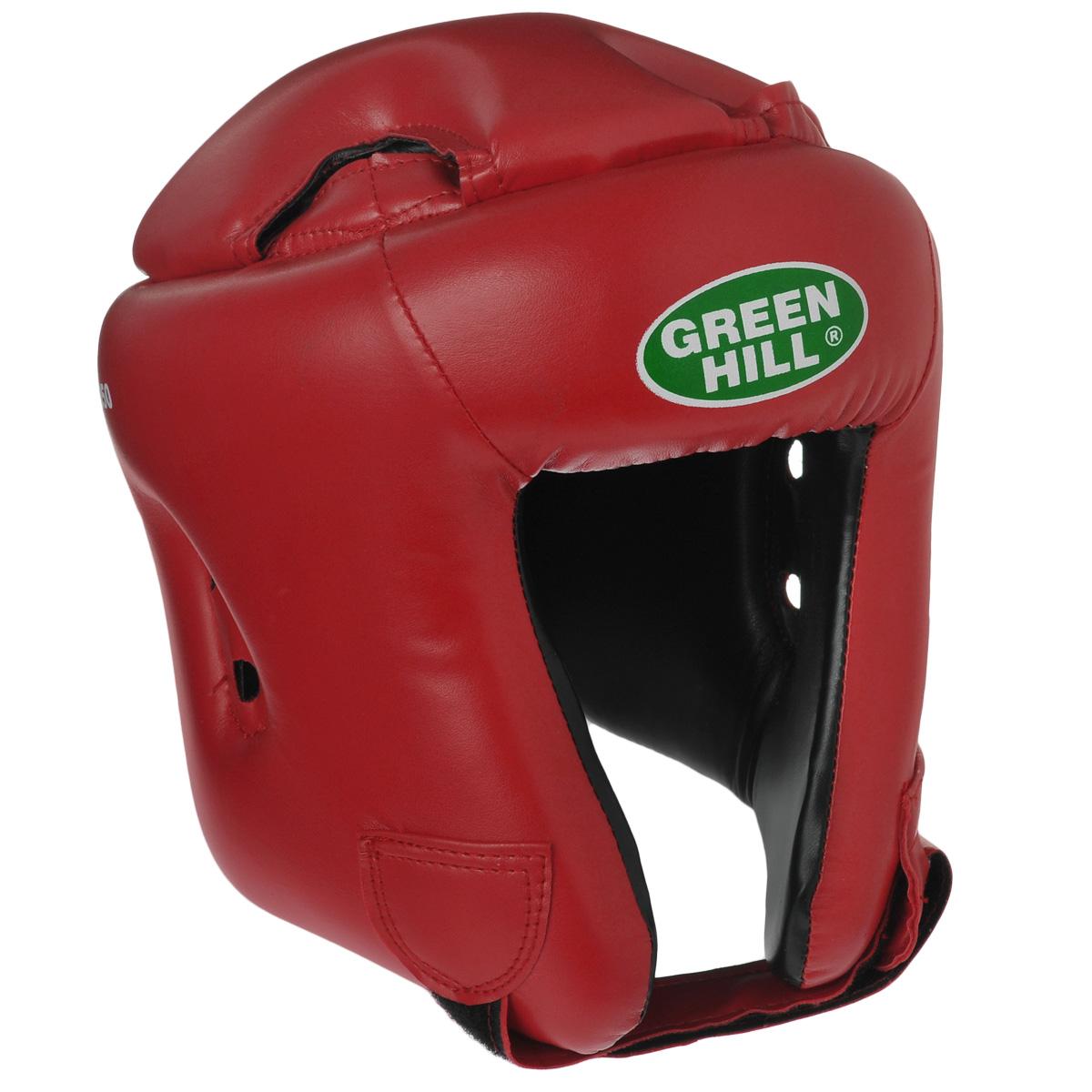 Шлем боксерский Green Hill Brave, цвет красный. Размер S (48-53 см)KBH-4050Шлем Green Hill Brave с усиленной защитой теменной области предназначен для занятий боксом и кикбоксингом. Подходит для тренировок и соревнований. Крепление сзади на резинке и под подбородком на липучке крепко удерживают шлем на голове. Верх выполнен из высококачественного кожзаменителя, подкладка из искусственной замши.