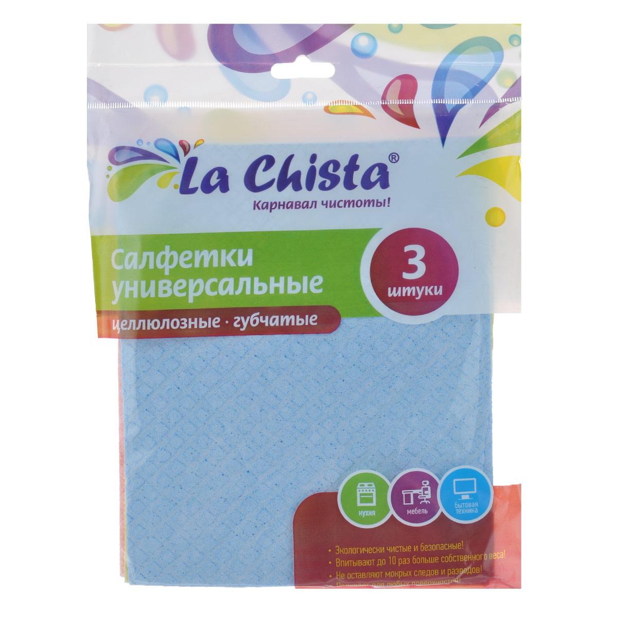 Салфетки универсальные La Chista, губчатые, 15 см х 15 см, 3 шт531-105Универсальные губчатые салфетки La Chista, изготовленные из целлюлозы, прекрасно подойдут для влажной уборки. Такие салфетки впитывают до 10 раз больше собственного веса. Подходят для любых поверхностей и не оставляют ворсинок и разводов. Экологически безопасные.Комплектация: 3 шт.