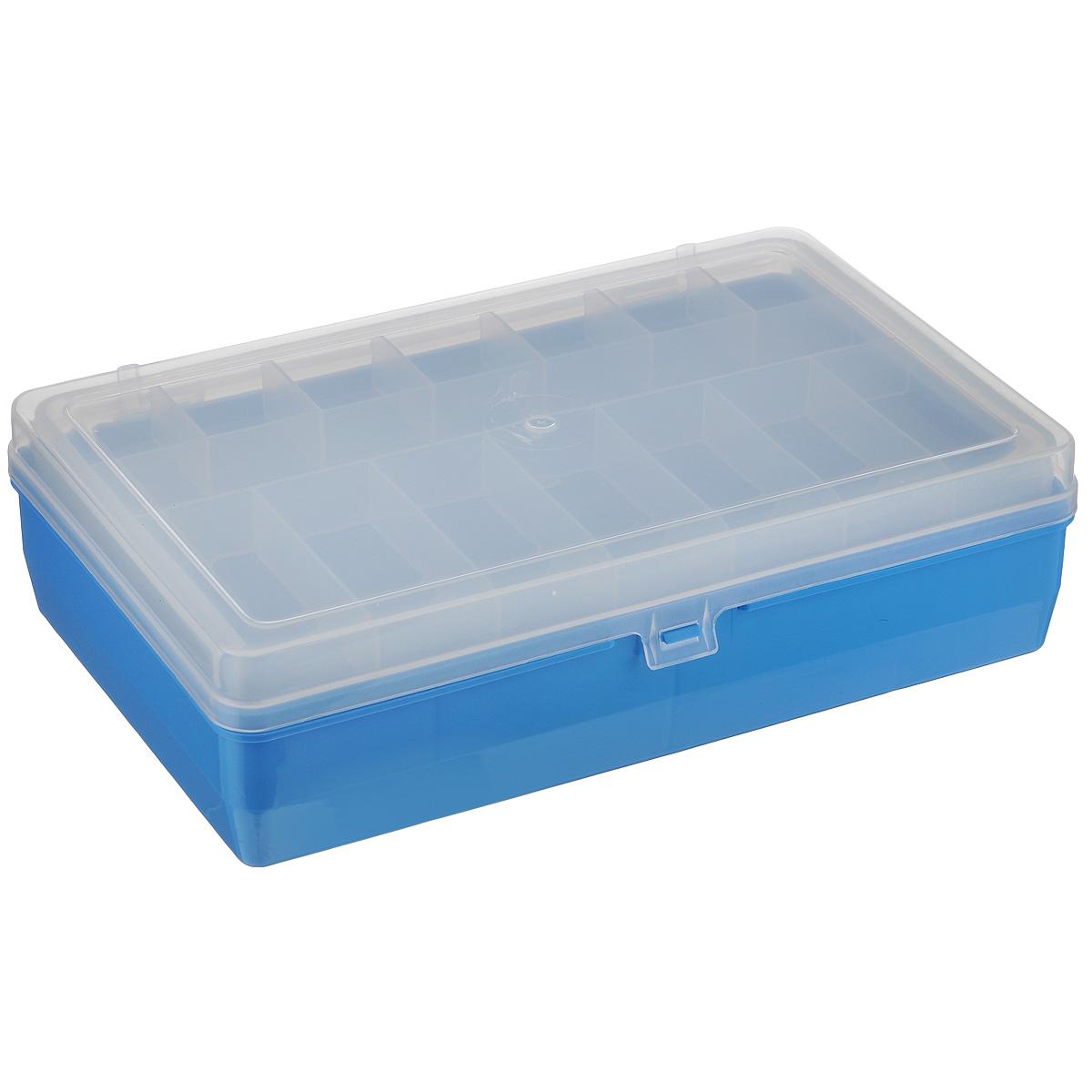 Коробка для мелочей Trivol, двухъярусная, цвет: голубой,23,5 см х 15 см х 6,5 см25051 7_желтыйДвухъярусная коробка для мелочей Trivol изготовлена из высококачественного пластика. Прозрачная крышка позволяет видеть содержимое коробки. Изделие имеет два яруса. Верхний ярус представляет собой съемное отделение, в котором содержится 15 ячеек разной формы. Нижний ярус имеет 3 ячейки разного размера. Коробка прекрасно подойдет для хранения швейных принадлежностей, рыболовных снастей, мелких деталей и других бытовых мелочей. Удобный и надежный замок-защелка обеспечивает надежное закрывание крышки. Коробка легко моется и чистится. Такая коробка поможет держать вещи в порядке.