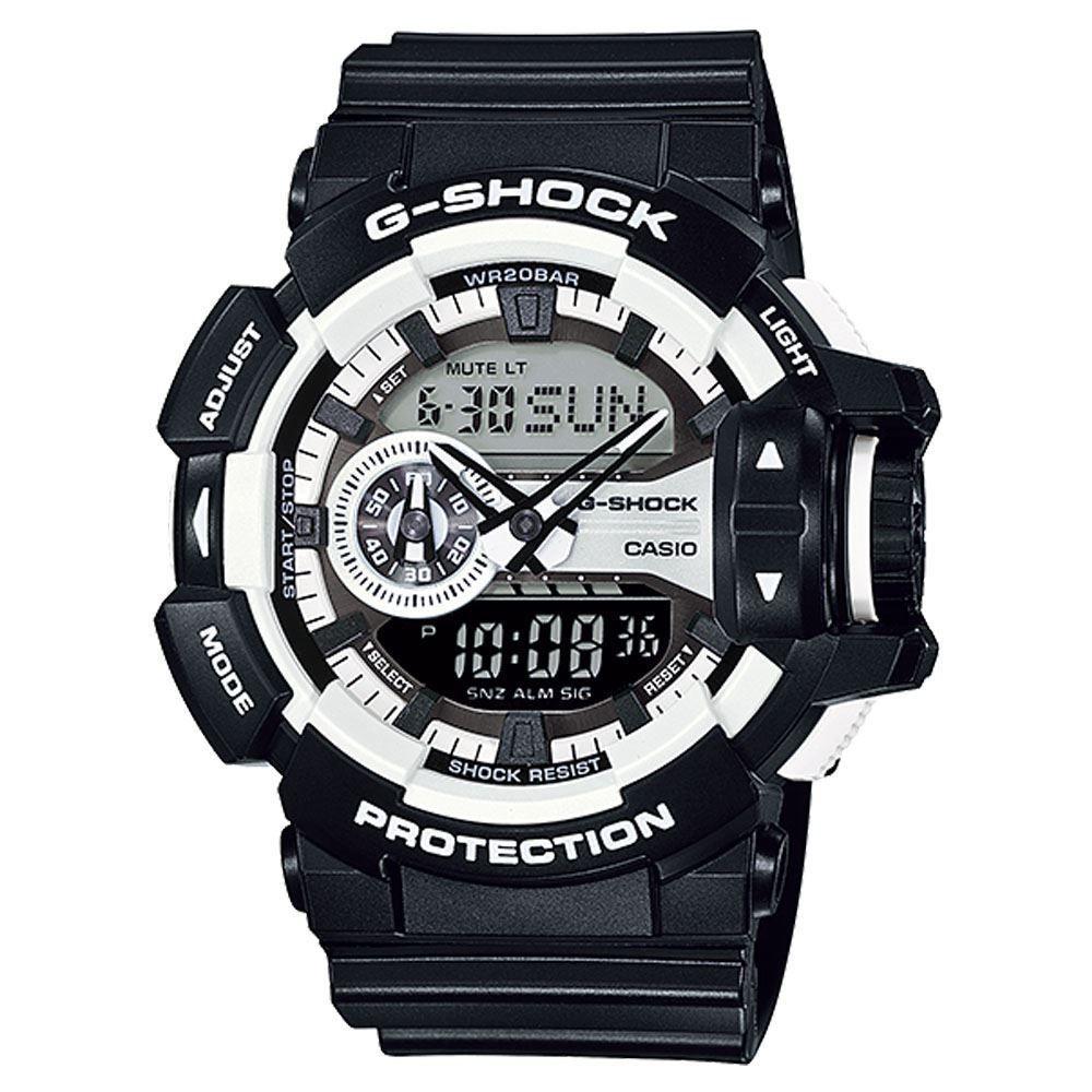 Часы мужские наручные Casio G-SHOCK, цвет: черный, белый. GA-400-1ABM8434-58AEСтильные мужские часы Casio G-SHOCK выполнены из полимерных материалов и минерального стекла. Изделие дополнено светодиодной подсветкой высокой яркости, корпус часов оформлен символикой бренда. В часах предусмотрен аналоговый и цифровой отсчет времени. Часы оснащены функцией мирового времени, которая позволяет мгновенно выяснять текущее время. Часы могут быть настроены на подачу тонального или светового сигнала при наступлении выставленного времени. Функция таймера позволит обеспечить обратный отсчет времени, начиная с выставленного и подачу тонального или светового сигнала, когда отсчет доходит до нуля. Функция секундомера позволит замерять прошедшее время в пределах тысячи часовс точностью 1/100 секунды. Степень влагозащиты 20 atm. Изделие дополнено ремешком из полимерного материала, который обладает антибактериальными и запахоустойчивыми свойствами. Ремешок застегивается на пряжку, позволяющую максимально комфортно и быстро снимать и одевать часы.Часы поставляются в фирменной упаковке.Многофункциональные часы Casio G-SHOCK подчеркнут мужской характер и отменное чувство стиля у их обладателя.