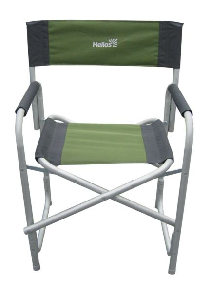 Кресло складное Helios, цвет: серый, зеленый, 47 см х 35 см х 85 см67742Удобное и надежное кресло Helios с жесткой конструкцией гарантирует комфортный отдых на природе. Выполнено из прочного полиэстера. Каркас - алюминиевая труба с порошковым покрытием. В сложенном виде кресло не занимает много места.