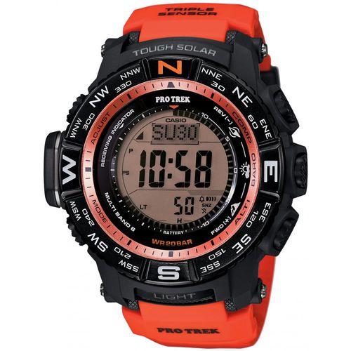 Часы мужские наручные Casio PRO TREK, цвет: черный, красный. PRW-3500Y-4EBM8434-58AEСтильные мужские часы Casio PRO TREK выполнены из полимерных материалов и минерального стекла. Изделие дополнено подсветкой высокой яркости, корпус часов оформлен символикой бренда. В часах предусмотрен цифровой отсчет времени.Часы оснащены функцией мирового времени, которая позволяет мгновенно выяснять текущее время. Часы могут быть настроены на подачу тонального или светового сигнала при наступлении выставленного времени. Функция таймера позволит обеспечить обратный отсчет времени, начиная с выставленного и подачу тонального или светового сигнала, когда отсчет доходит до нуля. Функция секундомера позволит замерять прошедшее время в пределах тысячи часовс точностью 1/100 секунды, предусмотрен будильник, термометр, цифровой компас, альтиметр, барометр. Степень влагозащиты 20 atm. Изделие дополнено ремешком из полимерного материала, который обладает антибактериальными и запахоустойчивыми свойствами. Ремешок застегивается на пряжку, позволяющую максимально комфортно и быстро снимать и одевать часы.Часы поставляются в фирменной упаковке.Многофункциональные часы Casio PRO TREK подчеркнут мужской характер и отменное чувство стиля у их обладателя.