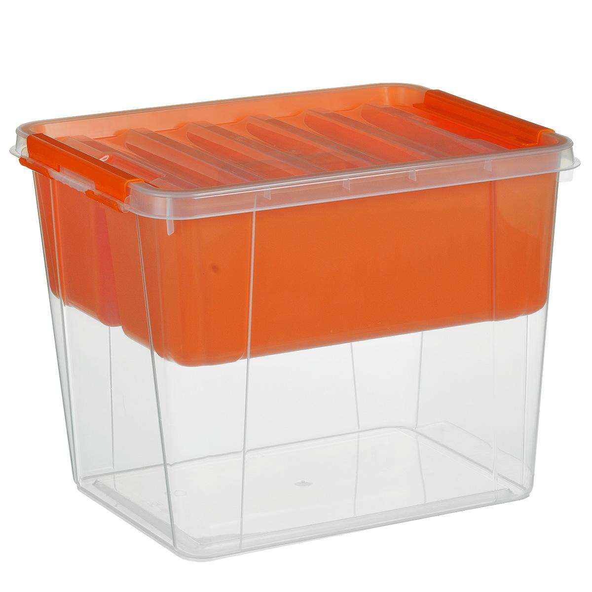Ящик Полимербыт Профи, с вкладышем, цвет: оранжевый, прозрачный, 25 л1004900000360Вместительный ящик Полимербыт Профи выполнен из прозрачного пластика и предназначен для хранения различных предметов. Ящик оснащен удобной крышкой с рельефной поверхностью. Внутри ящика имеется съемный вкладыш с двумя глубокими секциями. Контейнер снабжен двумя пластиковыми фиксаторами по бокам, придающими дополнительную надежность закрывания крышки. Вместительный контейнер позволит сохранить различные нужные вещи в порядке, а герметичная крышка предотвратит случайное открывание, защитит содержимое от пыли и грязи. Размер внутренних секций: 37 см х 13 см х 14 см. Объем: 25 л.