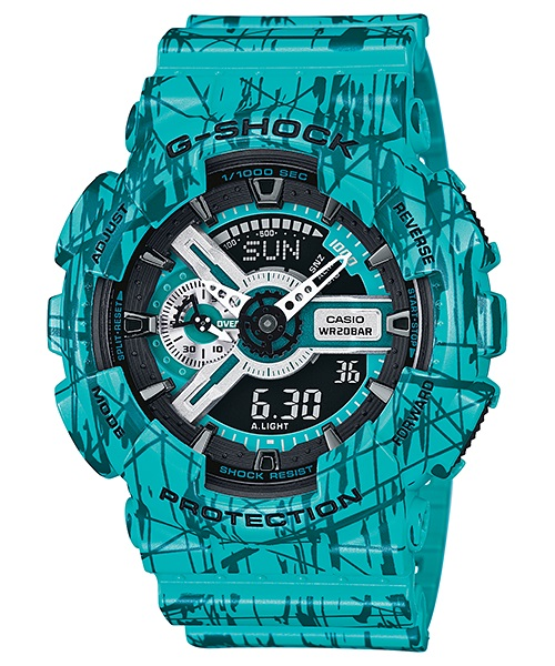 Часы мужские наручные Casio G-SHOCK, цвет: бирюзовый. GA-110SL-3ABM8434-58AEСтильные мужские часы Casio G-SHOCK выполнены из полимерных материалов и минерального стекла. Изделие дополнено светодиодной подсветкой высокой яркости, корпус часов оформлен символикой бренда и оригинальным принтом. В часах предусмотрен аналоговый и цифровой отсчет времени. Часы оснащены функцией мирового времени, которая позволяет мгновенно выяснять текущее время. Часы могут быть настроены на подачу тонального или светового сигнала при наступлении выставленного времени. Функция таймера позволит обеспечить обратный отсчет времени, начиная с выставленного и подачу тонального или светового сигнала, когда отсчет доходит до нуля. Функция секундомера позволит замерять прошедшее время в пределах тысячи часовс точностью 1/100 секунды, предусмотрен будильник. Степень влагозащиты 20 atm. Изделие дополнено ремешком из полимерного материала, который обладает антибактериальными и запахоустойчивыми свойствами. Ремешок застегивается на пряжку, позволяющую максимально комфортно и быстро снимать и одевать часы.Часы поставляются в фирменной упаковке.Многофункциональные часы Casio G-SHOCK подчеркнут мужской характер и отменное чувство стиля у их обладателя.