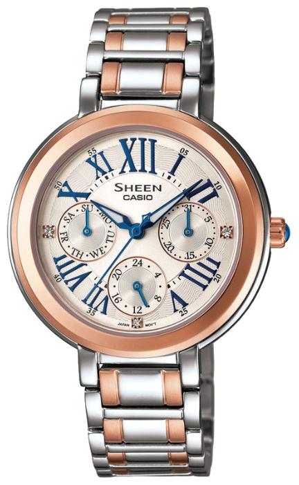 Часы женские наручные CASIO SHEEN, цвет: золотистый, стальной. SHE-3034SG-7ABM8434-58AEЭлегантные женские часы CASIO SHEEN выполнены из нержавеющей стали, минерального стекла. Циферблат изделия дополнен светящимся составом на стрелках, символикой бренда и кристаллами Swarovski.Часы оснащены полированным ударостойким корпусом, устойчивым к царапинам минеральным стеклом, тремя дополнительными циферблатами с индикаторами даты и дня недели, а также степенью влагозащиты 5 atm. Изделие дополнено стальным браслетом, позволяющим максимально комфортно и быстро снимать и одевать часы при помощи замка-клипсы.Часы поставляются в фирменной упаковке.Часы CASIO SHEEN подчеркнут изящество женской руки и отменное чувство стиля их обладательницы.