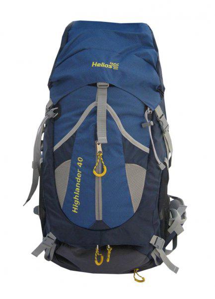 Рюкзак Helios Highlander, цвет: серый, синий, 40 лKOC-H19-LEDHelios Highlander - это рюкзак классического дизайна для разных областей применения (от однодневного похода до многодневной экспедиции). Рюкзак эффективно разгружает плечи, перемещая вес груза на бедра. Выполнен из полиэстера с плетением Diamond RipStop и Dobby, водоотталкивающее покрытие PU. Конструктивные особенности: Система подвески с вентиляцией спины. Поясной ремень и грудная стяжка. Большой U-образный вход в основное отделение. Фронтальный карман. Боковые карманы из сетки. Совместим с питьевой системой. Чехол-дождевик в кармане на дне.