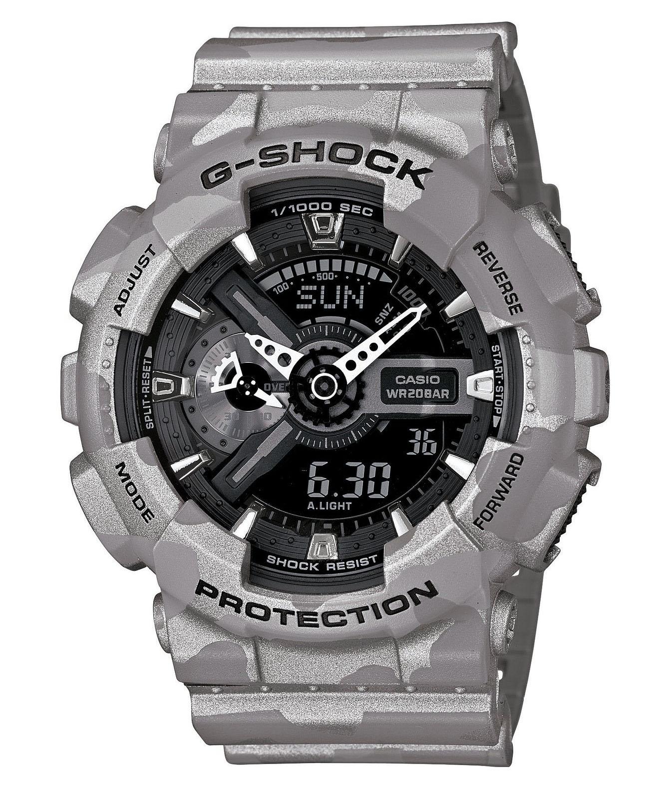 Часы мужские наручные Casio G-SHOCK, цвет: серый, камуфляж. GA-110CM-8ABM8434-58AEСтильные мужские часы Casio G-SHOCK выполнены из полимерных материалов и минерального стекла. Изделие дополнено светодиодной подсветкой высокой яркости, корпус часов оформлен символикой бренда и оригинальным принтом. В часах предусмотрен аналоговый и цифровой отсчет времени. Часы оснащены функцией мирового времени, которая позволяет мгновенно выяснять текущее время. Часы могут быть настроены на подачу тонального или светового сигнала при наступлении выставленного времени. Функция таймера позволит обеспечить обратный отсчет времени, начиная с выставленного и подачу тонального или светового сигнала, когда отсчет доходит до нуля. Функция секундомера позволит замерять прошедшее время в пределах тысячи часовс точностью 1/100 секунды, предусмотрен будильник. Степень влагозащиты 20 atm. Изделие дополнено ремешком из полимерного материала, который обладает антибактериальными и запахоустойчивыми свойствами. Ремешок застегивается на пряжку, позволяющую максимально комфортно и быстро снимать и одевать часы.Часы поставляются в фирменной упаковке.Многофункциональные часы Casio G-SHOCK подчеркнут мужской характер и отменное чувство стиля у их обладателя.