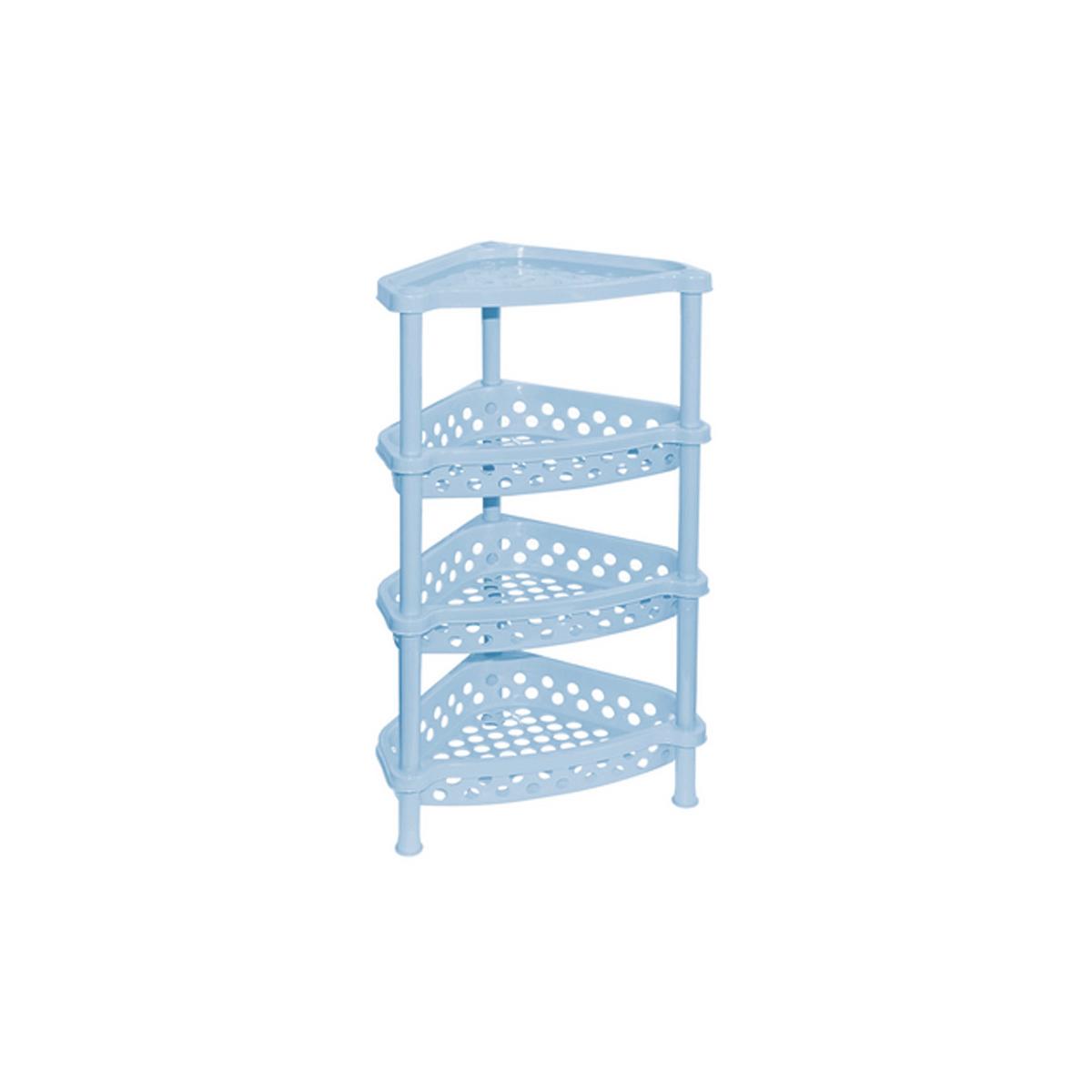 Этажерка угловая Violet, 4-х секционная, цвет: голубой, 37 х 28 х 73 см1004900000360Этажерка Violet выполнена из высококачественного прочного пластика и предназначена для хранения различных предметов. Изделие имеет 4 полки треугольной формы с перфорированными стенками. В ванной комнате вы можете использовать этажерку для хранения шампуней, гелей, жидкого мыла, стиральных порошков, полотенец и т.д. Ручной инструмент и детали в вашем гараже всегда будут под рукой. Удобно ставить банки с краской, бутылки с растворителем. В гостиной этажерка позволит удобно хранить под рукой книги, журналы, газеты. С помощью этажерки также легко навести порядок в детской, она позволит удобно и компактно хранить игрушки, письменные принадлежности и учебники. Этажерка - это идеальное решение для любого помещения. Она поможет поддерживать чистоту, компактно организовать пространство и хранить вещи в порядке, а стильный дизайн сделает этажерку ярким украшением интерьера.Размер этажерки (ДхШхВ): 37 см х 28 см х 73 см. Размер полки (ДхШхВ): 37 см х 28 см х 7,5 см.