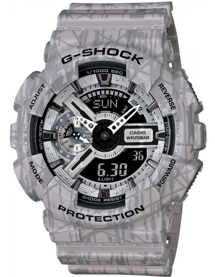 Часы мужские наручные Casio G-SHOCK, цвет: серый. GA-110SL-8ABM8241-01EEСтильные мужские часы Casio G-SHOCK выполнены из полимерных материалов и минерального стекла. Изделие дополнено светодиодной подсветкой высокой яркости, корпус часов оформлен символикой бренда и оригинальным принтом. В часах предусмотрен аналоговый и цифровой отсчет времени. Часы оснащены функцией мирового времени, которая позволяет мгновенно выяснять текущее время. Часы могут быть настроены на подачу тонального или светового сигнала при наступлении выставленного времени. Функция таймера позволит обеспечить обратный отсчет времени, начиная с выставленного и подачу тонального или светового сигнала, когда отсчет доходит до нуля. Функция секундомера позволит замерять прошедшее время в пределах тысячи часовс точностью 1/100 секунды, предусмотрен будильник. Степень влагозащиты 20 atm. Изделие дополнено ремешком из полимерного материала, который обладает антибактериальными и запахоустойчивыми свойствами. Ремешок застегивается на пряжку, позволяющую максимально комфортно и быстро снимать и одевать часы.Часы поставляются в фирменной упаковке.Многофункциональные часы Casio G-SHOCK подчеркнут мужской характер и отменное чувство стиля у их обладателя.