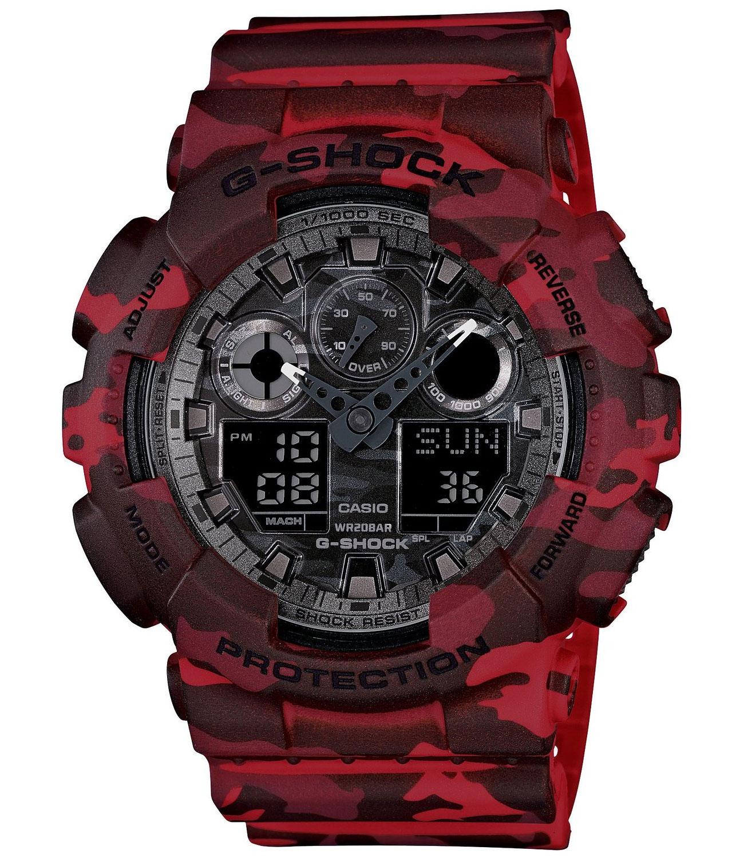 Часы наручные мужские Casio G-SHOCK, цвет: красный, камуфляж. GA-100CM-4ABM8434-58AEСтильные мужские часы Casio G-SHOCK выполнены из полимерных материалов и минерального стекла. Изделие дополнено светодиодной подсветкой высокой яркости, корпус часов оформлен символикой бренда и оригинальным принтом камуфляж. В часах предусмотрен аналоговый и цифровой отсчет времени.Часы оснащены функцией мирового времени, которая позволяет мгновенно выяснять текущее время. Часы могут быть настроены на подачу тонального или светового сигнала при наступлении выставленного времени. Функция таймера позволит обеспечить обратный отсчет времени, начиная с выставленного и подачу тонального или светового сигнала, когда отсчет доходит до нуля. Функция секундомера позволит замерять прошедшее время в пределах тысячи часов с точностью 1/100 секунды, предусмотрен будильник. Степень влагозащиты 20 atm. Изделие дополнено ремешком из полимерного материала, который обладает антибактериальными и запахоустойчивыми свойствами. Ремешок застегивается на пряжку, позволяющую максимально комфортно и быстро снимать и одевать часы. Часы поставляются в фирменной упаковке.Многофункциональные часы Casio G-SHOCK подчеркнут мужской характер и отменное чувство стиля у их обладателя.