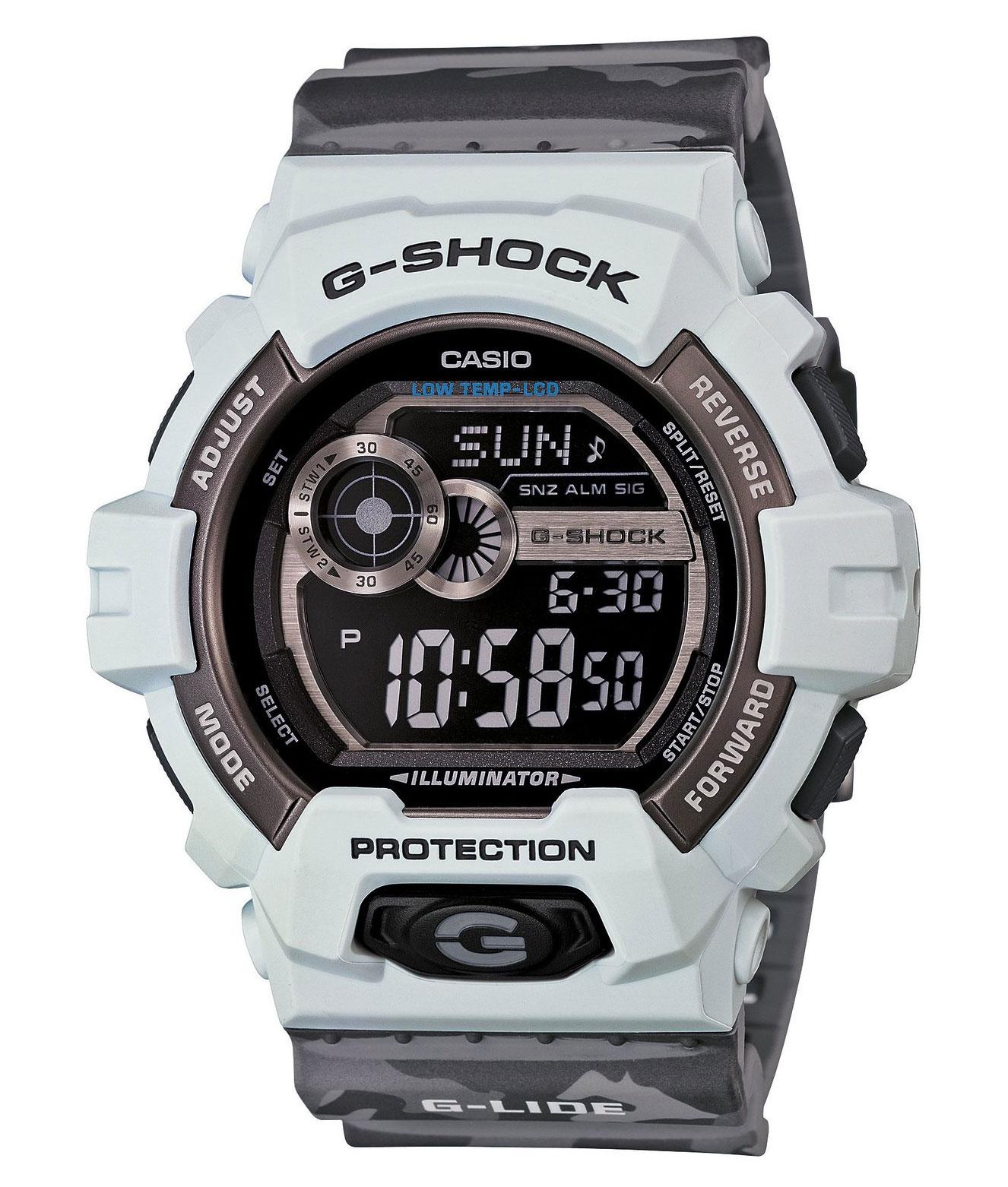 Часы мужские наручные Casio G-SHOCK, цвет: светлосерый, серый. GLS-8900CM-8EBM8434-58AEСтильные мужские часы Casio G-SHOCK выполнены из полимерных материалов и минерального стекла. Изделие дополнено светодиодной подсветкой высокой яркости, корпус часов оформлен символикой бренда и оригинальным принтом камуфляж. В часах предусмотрен цифровой отсчет времени.Часы оснащены функцией мирового времени, которая позволяет мгновенно выяснять текущее время. Часы могут быть настроены на подачу тонального или светового сигнала при наступлении выставленного времени. Функция таймера позволит обеспечить обратный отсчет времени, начиная с выставленного и подачу тонального или светового сигнала, когда отсчет доходит до нуля. Функция секундомера позволит замерять прошедшее время в пределах тысячи часовс точностью 1/100 секунды, предусмотрен будильник. Степень влагозащиты 20 atm. Изделие дополнено ремешком из полимерного материала, который обладает антибактериальными и запахоустойчивыми свойствами. Ремешок застегивается на пряжку, позволяющую максимально комфортно и быстро снимать и одевать часы.Часы поставляются в фирменной упаковке.Многофункциональные часы Casio G-SHOCK подчеркнут мужской характер и отменное чувство стиля у их обладателя.