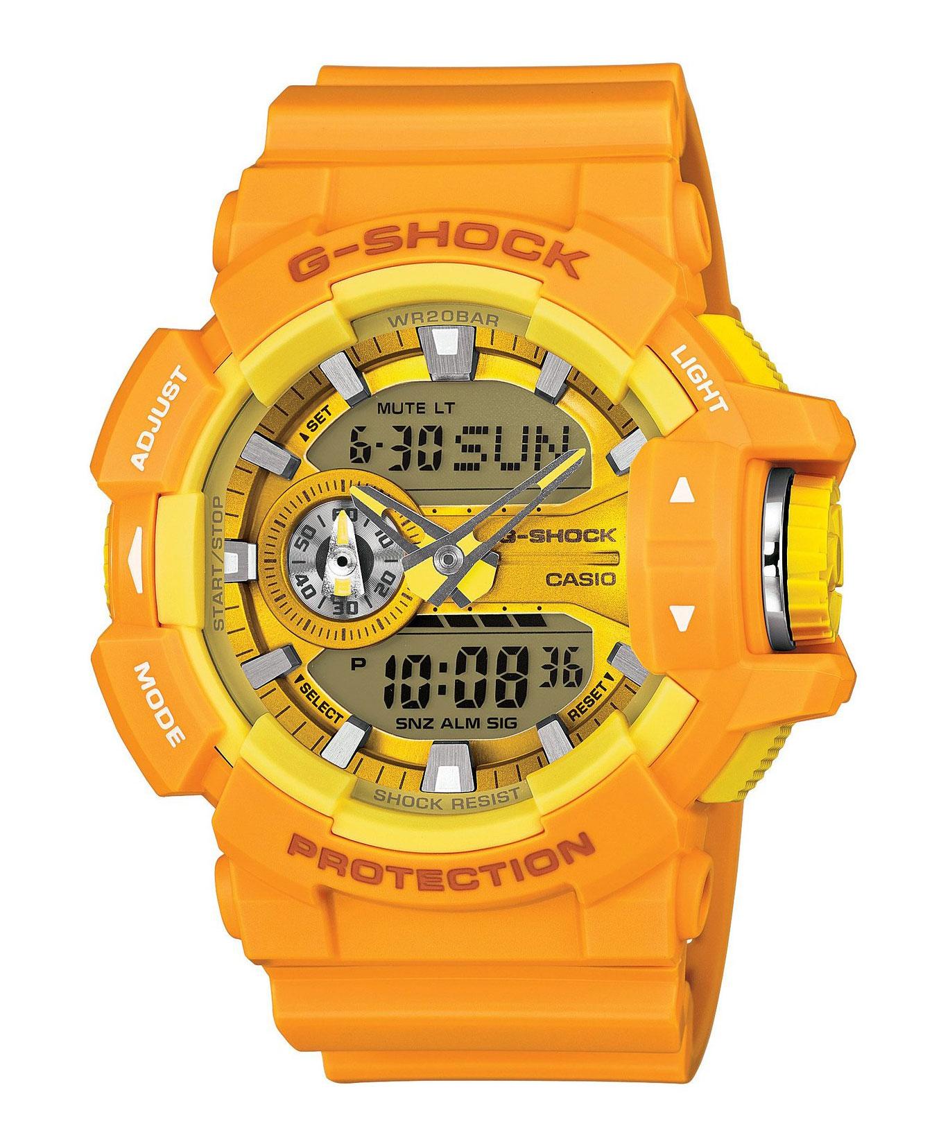 Часы мужские наручные Casio G-SHOCK, цвет: оранжевый, желтый. GA-400A-9AEQW-M710DB-1A1Стильные мужские часы Casio G-SHOCK выполнены из полимерных материалов и минерального стекла. Изделие дополнено светодиодной подсветкой высокой яркости, корпус часов оформлен символикой бренда. В часах предусмотрен аналоговый и цифровой отсчет времени. Часы оснащены функцией мирового времени, которая позволяет мгновенно выяснять текущее время. Часы могут быть настроены на подачу тонального или светового сигнала при наступлении выставленного времени. Функция таймера позволит обеспечить обратный отсчет времени, начиная с выставленного и подачу тонального или светового сигнала, когда отсчет доходит до нуля. Функция секундомера позволит замерять прошедшее время в пределах тысячи часовс точностью 1/100 секунды. Степень влагозащиты 20 atm. Изделие дополнено ремешком из полимерного материала, который обладает антибактериальными и запахоустойчивыми свойствами. Ремешок застегивается на пряжку, позволяющую максимально комфортно и быстро снимать и одевать часы.Часы поставляются в фирменной упаковке.Многофункциональные часы Casio G-SHOCK подчеркнут мужской характер и отменное чувство стиля у их обладателя.