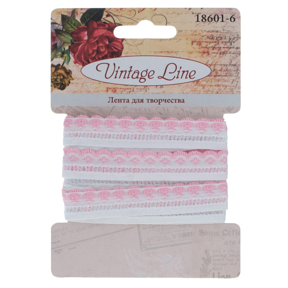 Лента декоративная Vintage Line, цвет: белый, розовый, 1,2 см х 150 см. 7709654SCB390421Декоративная лента Vintage Line выполнена из текстиля и оформлена вышивкой. Такая лента идеально подойдет для оформления различных творческих работ таких, как скрапбукинг, аппликация, декор коробок и открыток и многое другое.Лента наивысшего качества практична в использовании. Она станет незаменимым элементом в создании рукотворного шедевра. Ширина: 1,2 см.Длина: 1,5 м.