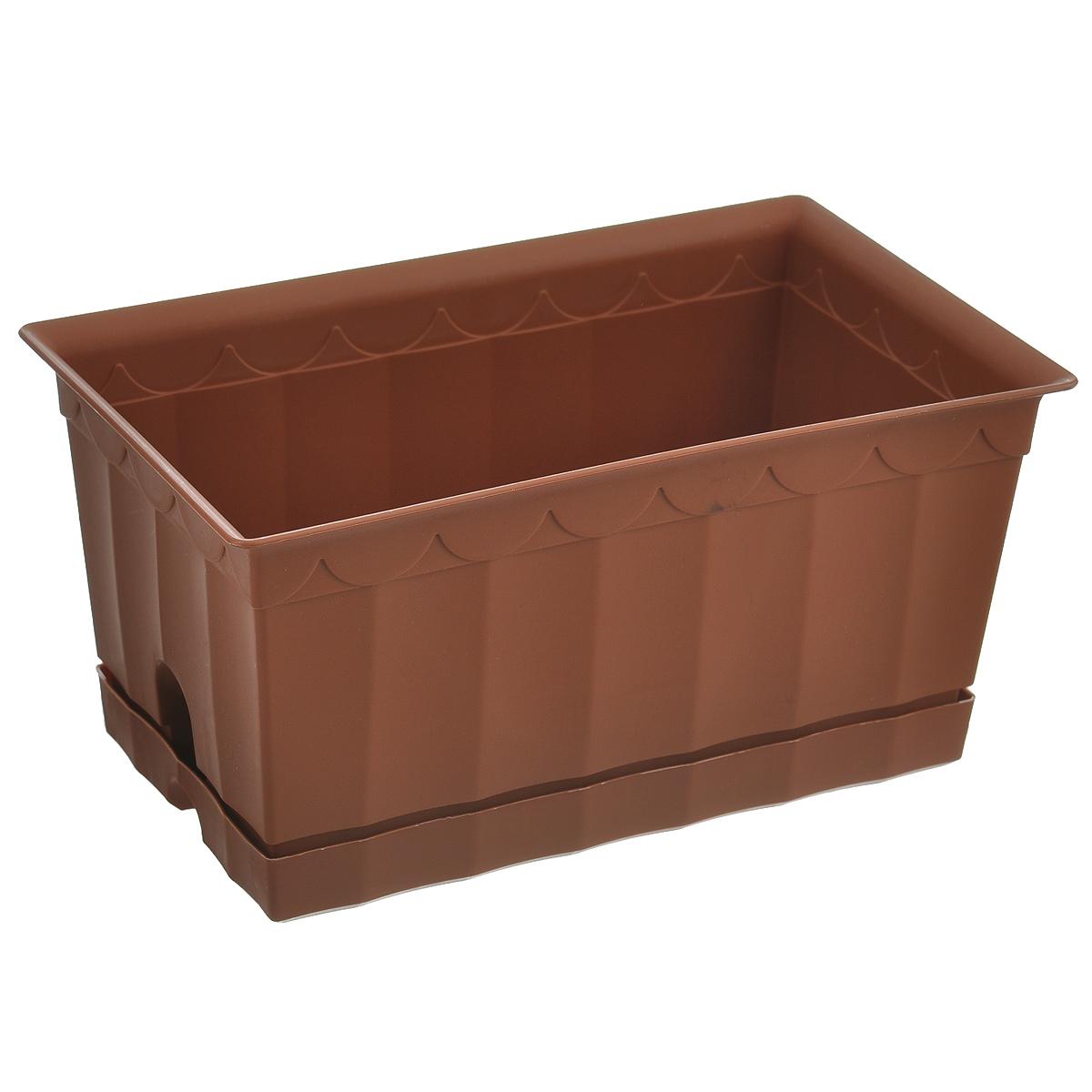 Ящик для цветов с поддоном Полимербыт, цвет: коричневый, 20 х 12 х 9,5 смZ-0307Ящик для цветов Полимербыт, выполненный из пластика коричневого цвета, - прекрасный способ подчеркнуть красоту и уникальность любого растения и дополнить интерьер помещения. Такой ящик также прекрасно подойдет для рассады. К ящику прилагается поддон.