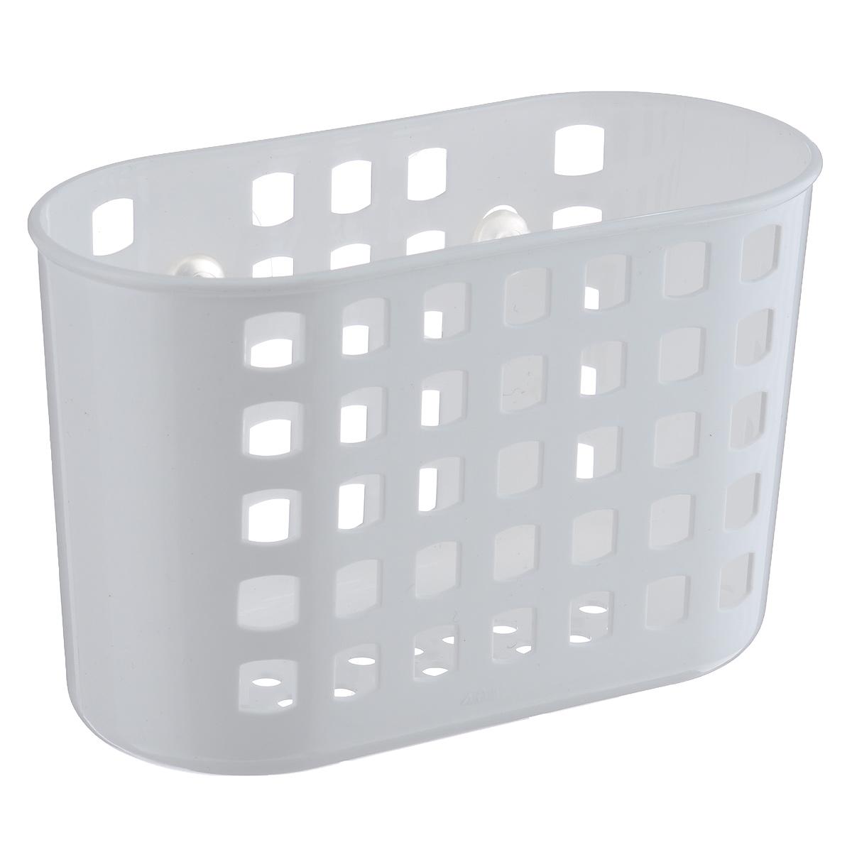 Контейнер навесной Полимербыт, на присосках, цвет: белый, 18,5 см х 11,5 см х 8 см1004900000360Контейнер Полимербыт будет полезным аксессуаром в любой ванной комнате или на кухне. Надежные присоски удерживают контейнер на гладкой поверхности, и выдерживают нагрузку до 1 кг. В таком контейнере удобно хранить различные хозяйственные вещи: бытовую химию, губки для мытья, шампуни. Благодаря перфорации на стенках и дне контейнера, вода, которая может в него попасть с легкостью вытечет наружу.