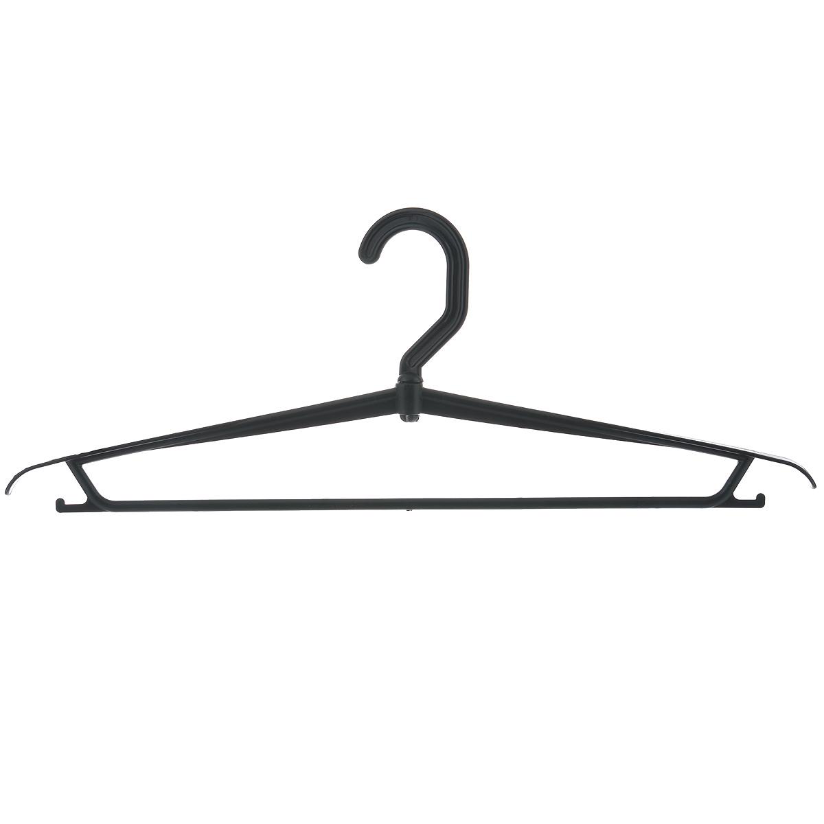 Вешалка для одежды М-пластика, цвет: черныйU210DFВешалка М-пластика выполнена из прочного пластика. Изделие оснащено перекладиной и боковыми крючками.Вешалка - это незаменимая вещь для того, чтобы ваша одежда всегда оставалась в хорошем состоянии.