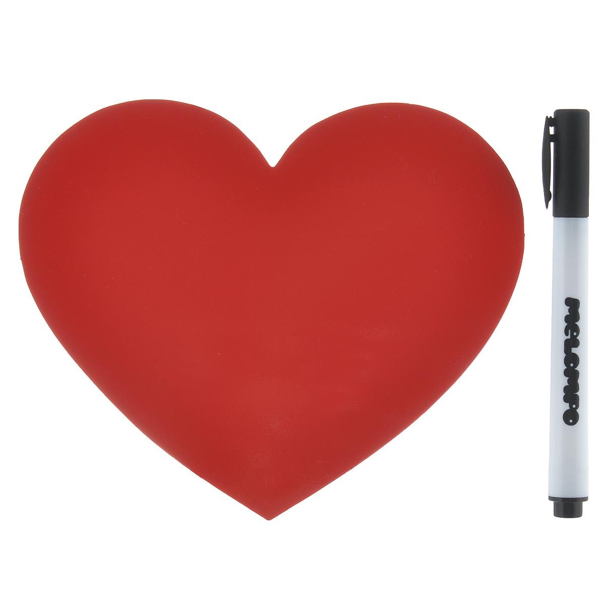 Памятка маркерная Melompo Сердце, 12 х 10 смRB123Магнитная доска на холодильник Melompo Сердце - оригинальная вещь для ежедневных посланий родным и близким. Доска выполнена в виде сердца.В комплект входят:Памятка - легко примагничивается и просто снимается.Маркер - прекрасно пишет и также хорошо стирается.Держатель - позволит примагнитить памятку к неметаллической поверхности.