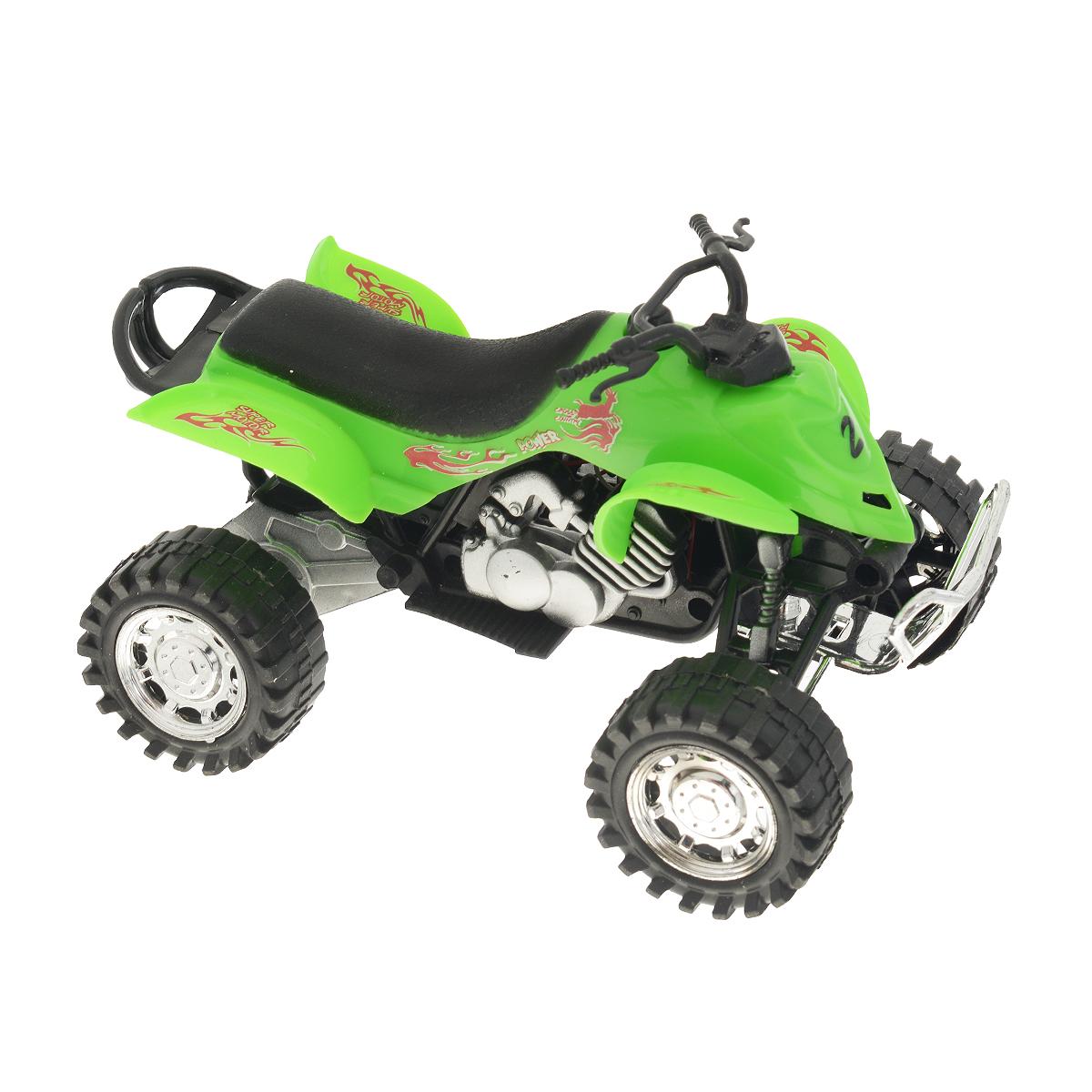 """Инерционная игрушка Dream Makers """"Квадроцикл"""", изготовленная из проного пластика, привлечет внимание вашего ребенка и не позволит ему скучать. Квадроцикл снабжен кнопкой, при нажатии на которую звучат различные звуки. Игрушка оснащена инерционным механизмом: стоит откатить квадроцикл назад, затем отпустить и он молниеносно поедет вперед. Ребенок с удовольствием будет играть с этой игрушкой, придумывая разные истории. Порадуйте его таким замечательным подарком! Рекомендуется докупить 3 батарейки типа LR44 (товар комплектуется демонстрационными)."""