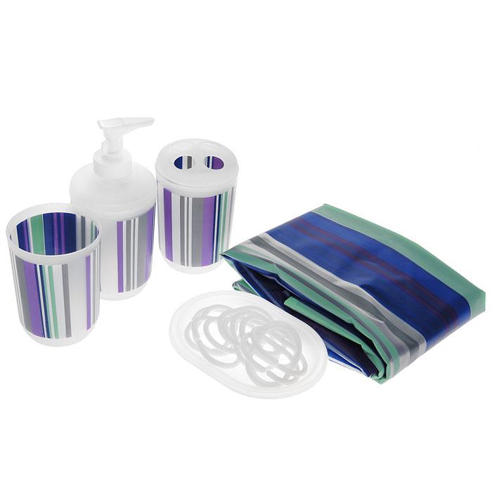Набор для ванной комнаты House & Holder, 5 предметов. SWYS04925051 7_зеленыйНабор для ванной комнаты House & Holder состоит из дозатора для жидкого мыла, стакана для зубной пасты, держателя для зубных щеток, мыльницы и шторы для ванной с кольцами. Дозатор для жидкого мыла, стакан для зубной пасты, держатель для зубных щеток, мыльницы и 12 колец выполнены из прочного пластика. Водонепроницаемая штора выполнена из полимера. Дозатор, стакан, держатель и штора украшены разноцветными полосками.С таким комплектом вы можете изменить облик ванной комнаты. Аксессуары, входящие в набор, выполняют не только практическую, но и декоративную функцию. Они способны внести в помещение изысканность, сделать пребывание в нем приятным и даже незабываемым. Высота стакана для пасты: 9,5 см. Диаметр стакана (по верхнему краю): 7 см. Высота держатель для зубных щеток: 11 см. Диаметр держателя для зубных щеток: 7 см. Размер дозатора: 7 см х 7 см х 15,5 см. Размер мыльницы: 13 см х 9,5 см х 2,5 см. Размер шторы: 180 см х 180 см.