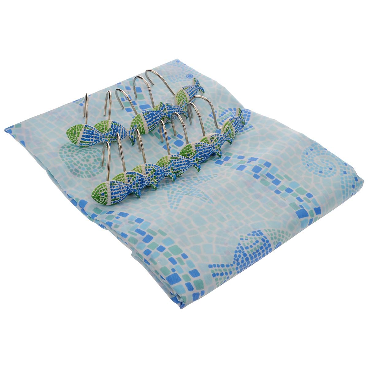 Штора для ванной комнаты House & Holder, цвет: голубой, 180 х 180 см SWYS063S03301004Штора для ванной комнаты House & Holder изготовлена из полимера с водоотталкивающим покрытием, оформлена изображением морских животных. Такая штора легко стирается и быстро сохнет. В ее верхней кромке предусмотрены отверстия для крючков. Крючки, выполненные из металла, декорированы фигурками объемных рыбок. Количество крючков: 12 шт.