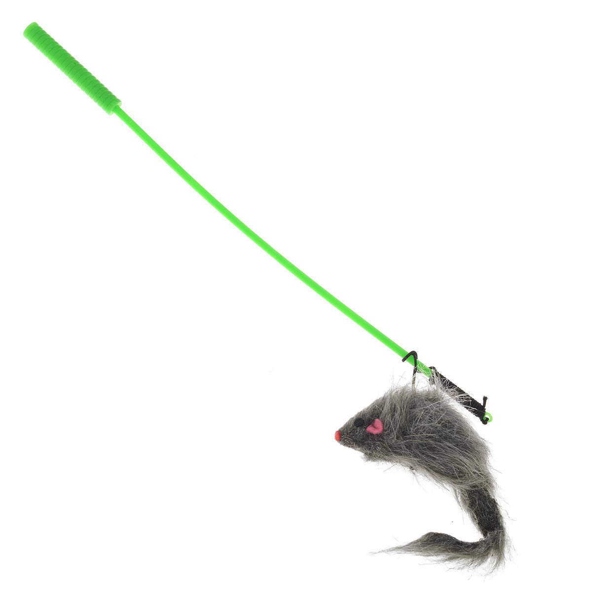 Игрушка для кошек V.I.Pet Дразнилка-удочка с мышью, цвет: серый, зеленый12171996Игрушка для кошек V.I.Pet Дразнилка-удочка с мышью, изготовленная из текстиля и пластика, прекрасно подойдет для веселых игр вашего пушистого любимца. Играя с этой забавной дразнилкой, маленькие котята развиваются физически, а взрослые кошки и коты поддерживают свой мышечный тонус. Яркая игрушка на конце удочки сразу привлечет внимание вашего любимца, не навредит здоровью, и увлечет его на долгое время. Длина удочки: 37 см.Размер игрушки: 10 см х 4 см х 3 см.