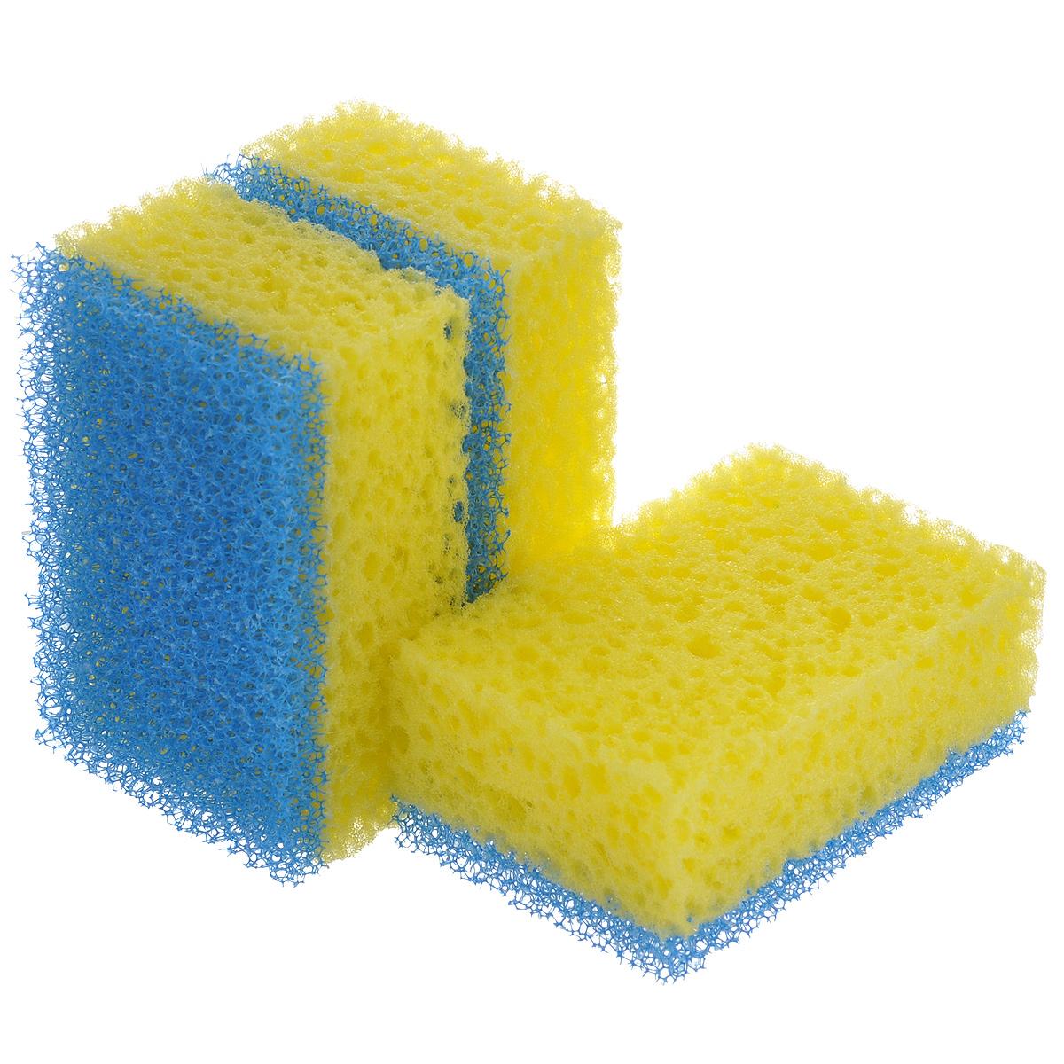 Губки для посуды La Chista Люкс, цвет: желтый, синий, 3 шт531-105Губки для посуды La Chista Люкс идеально справляются с любыми загрязнениями даже без моющего средства. Выполнены из мягкого поролона и абразивного материала.Особенности: Изготовлены из экологически чистого сырья.Не содержат фреонов и метилгидрохлорида.Высокая плотность поролона экономит моющее средство.Особо прочные абразивные материалы.