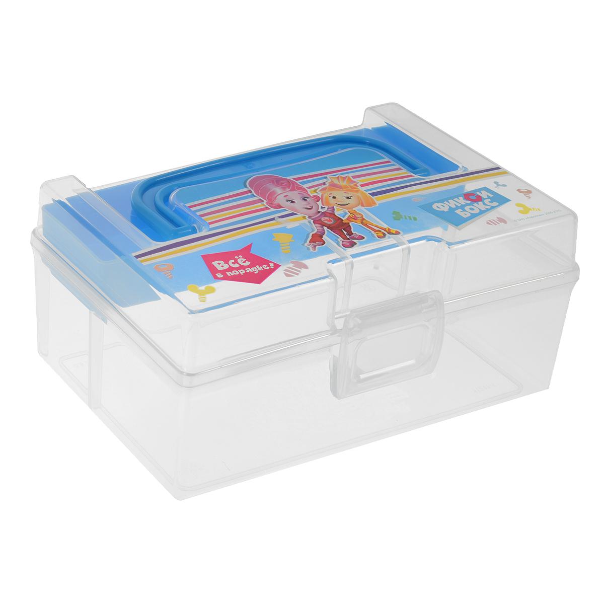 Контейнер для мелочей Фиксики, с вкладышем, цвет: прозрачный, голубой, 800 млR3204Контейнер Фиксики выполнен из высококачественного прозрачного пластика. Для удобства переноски сверху имеется ручка. Контейнер декорирован изображением героев одноименного мультика Фиксики. Внутрь вставляется вкладыш с одним отделением. Контейнер плотно закрывается крышкой с защелкой. Контейнер Фиксики очень вместителен и поможет вам хранить все необходимые мелочи в одном месте.Размер контейнера: 16,5 см х 10 см х 7,5 см.Размер вкладыша: 16 см х 4 см х 2 см.