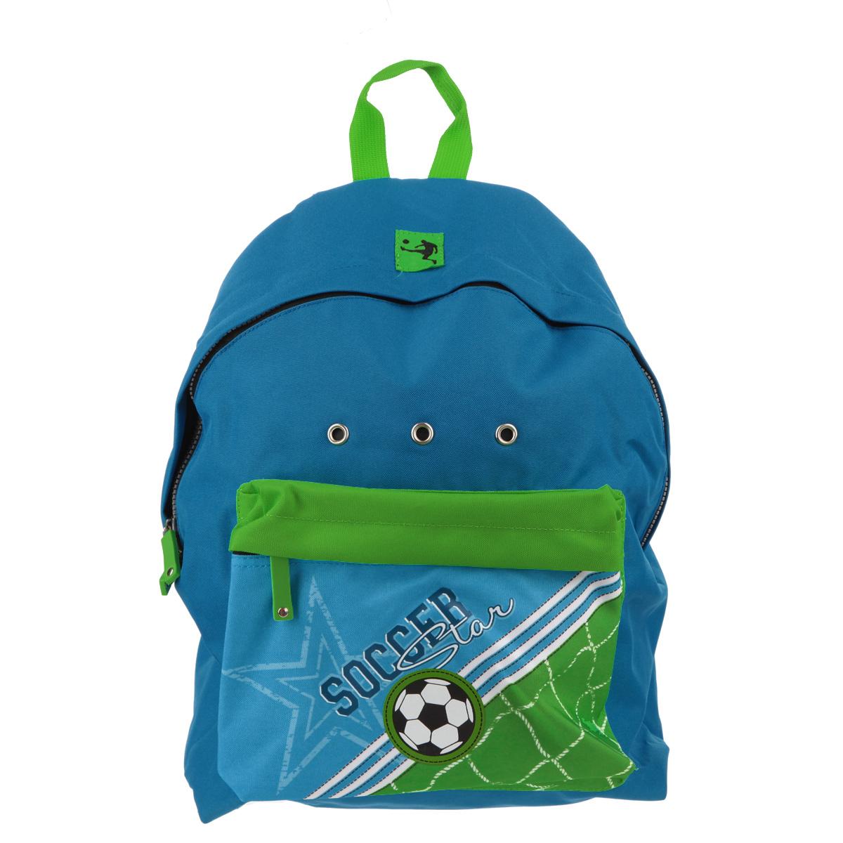 Рюкзак Erich Krause Soccer, цвет: синий, зеленый72523WDРюкзак Erich Krause Soccer легкий, компактный выполнен из водонепроницаемого материла и дополнен изображением в виде футбольного мяча.Содержит одно вместительное отделение, закрывающееся на пластиковый замок-молнию с двумя бегунками. Внутри отделения расположен нашивной карман, на котором находятся открытый кармашек, карман-сетка на молнии и два фиксатора для канцелярских принадлежностей. Лицевая сторона рюкзака оснащена фронтальным карманом на застежке-молнии. Мягкие лямки позволяют легко и быстро отрегулировать рюкзак в соответствии с ростом. Рюкзак оснащен удобной текстильной ручкой для переноски в руке.Этот рюкзак можно использовать для повседневных прогулок, отдыха и спорта, а также как элемент вашего имиджа.
